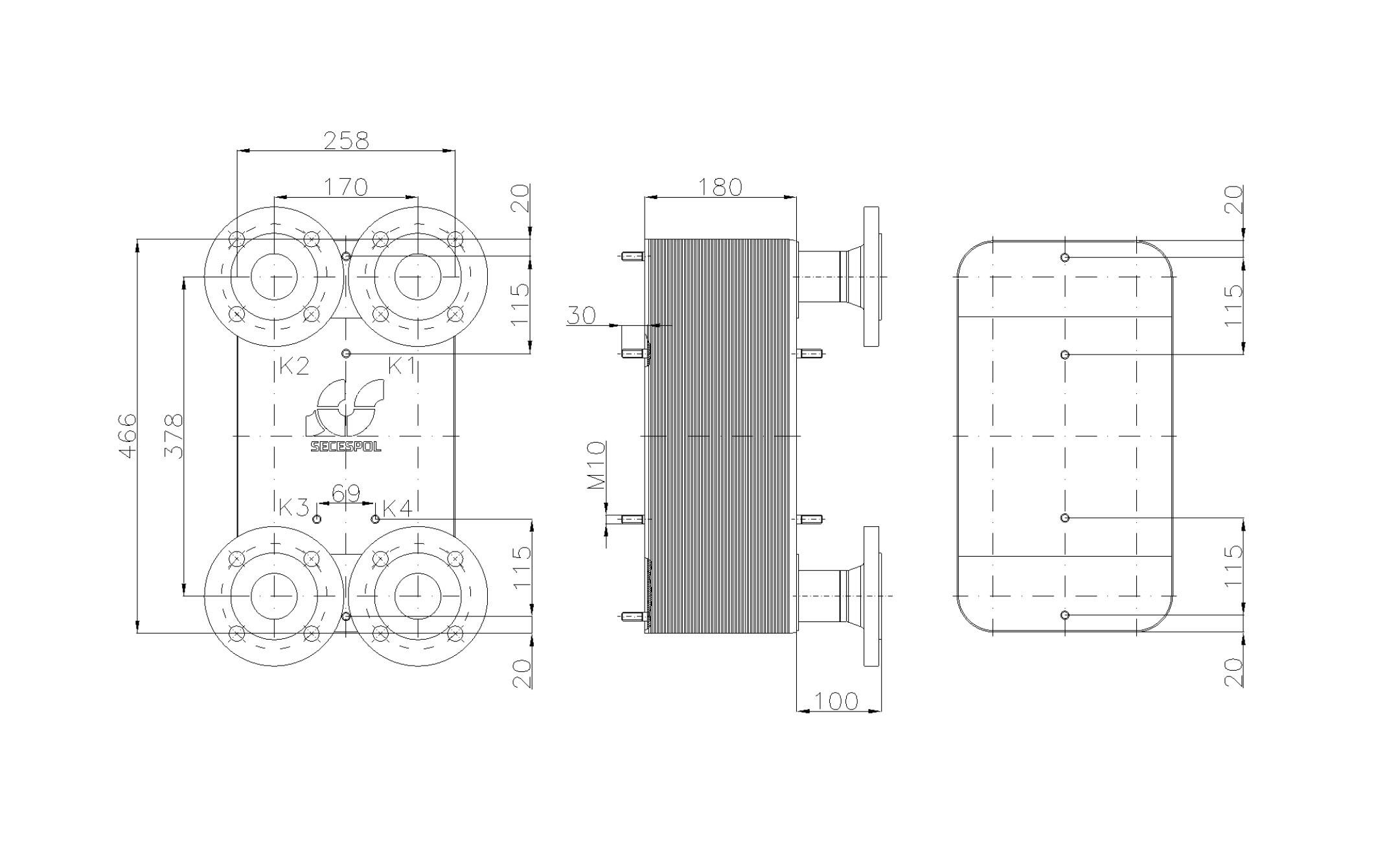Габаритные размеры паяного пластинчатого теплообменника Secespol LC110SP-70-DN50.SS