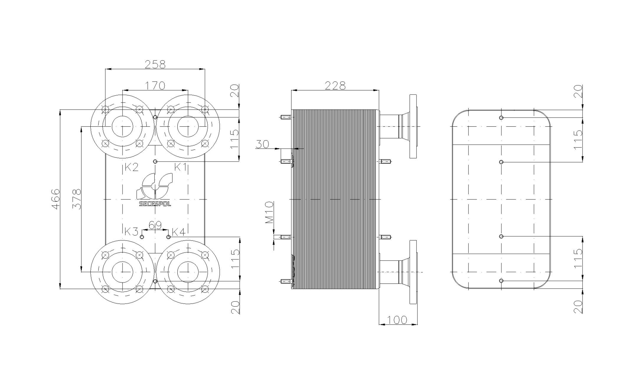 Габаритные размеры паяного пластинчатого теплообменника Secespol LC110SP-90-DN50.SS