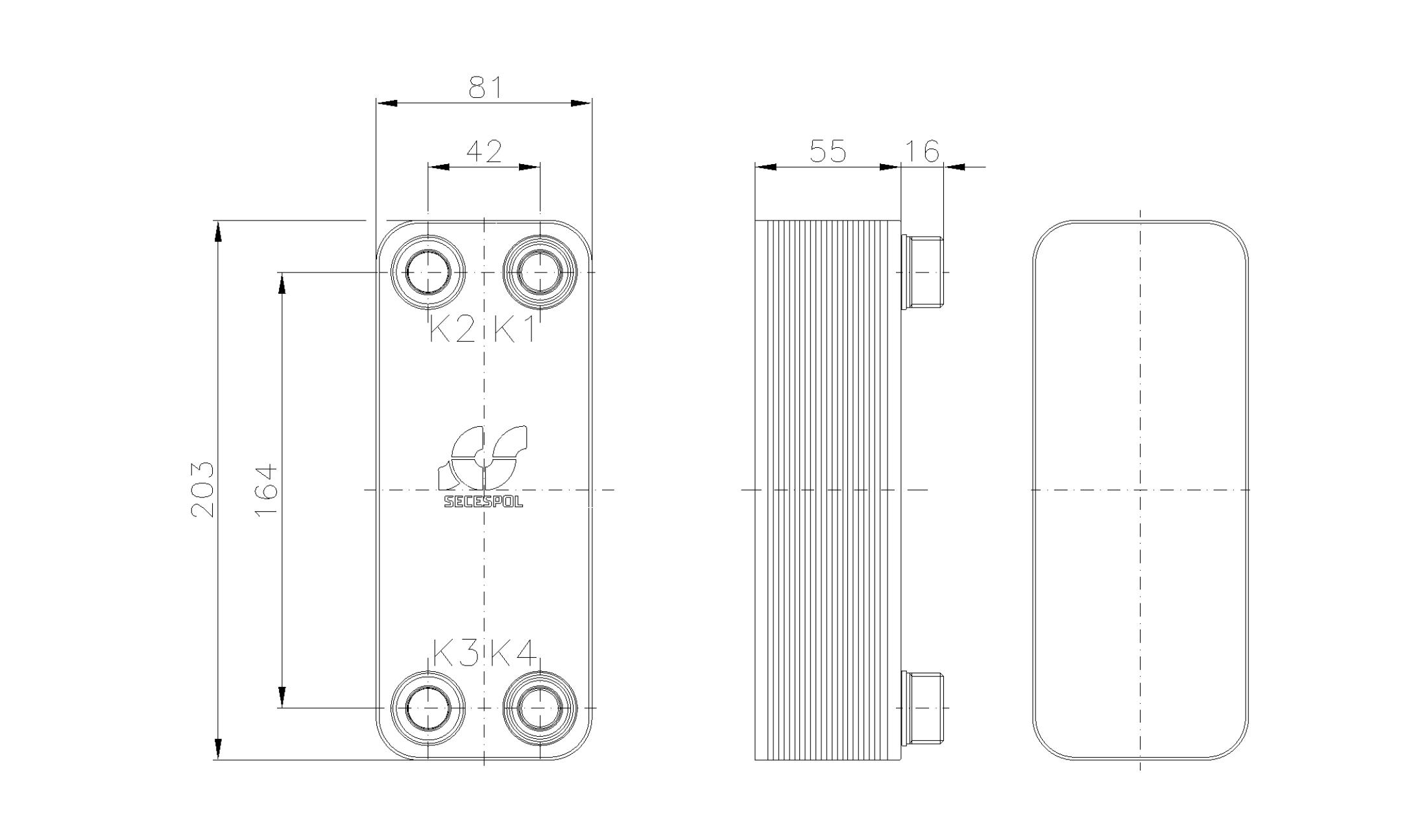 Габаритные размеры паяного пластинчатого теплообменника Secespol RA14-20