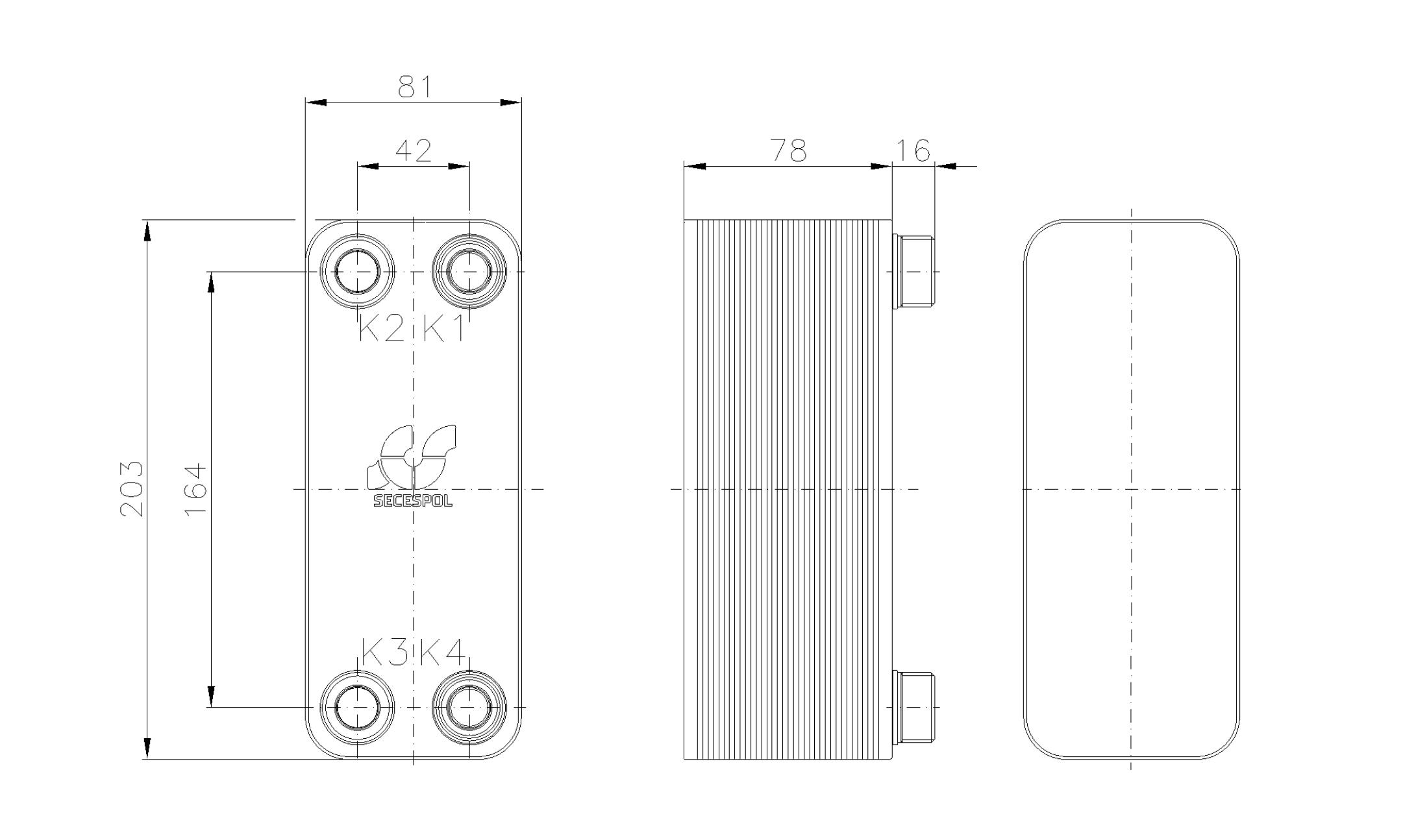 Габаритные размеры паяного пластинчатого теплообменника Secespol RA14-30