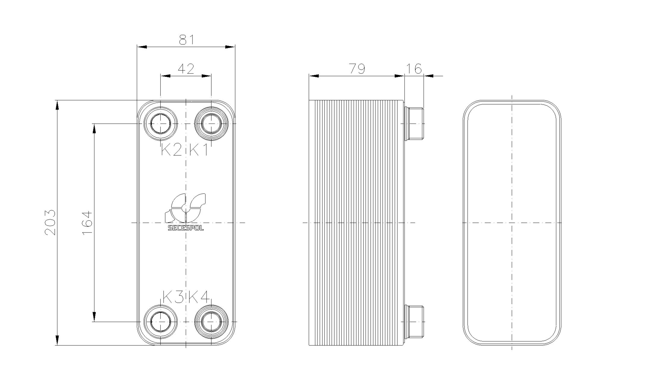 Габаритные размеры паяного пластинчатого теплообменника Secespol RHA14-30