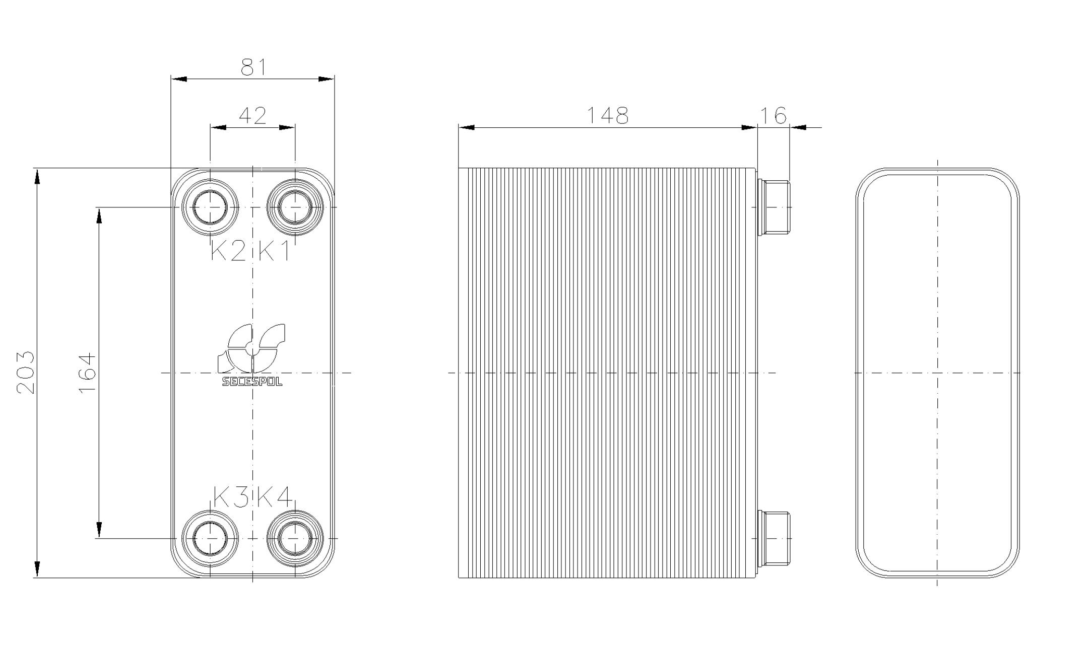 Габаритные размеры паяного пластинчатого теплообменника Secespol RHA14-60