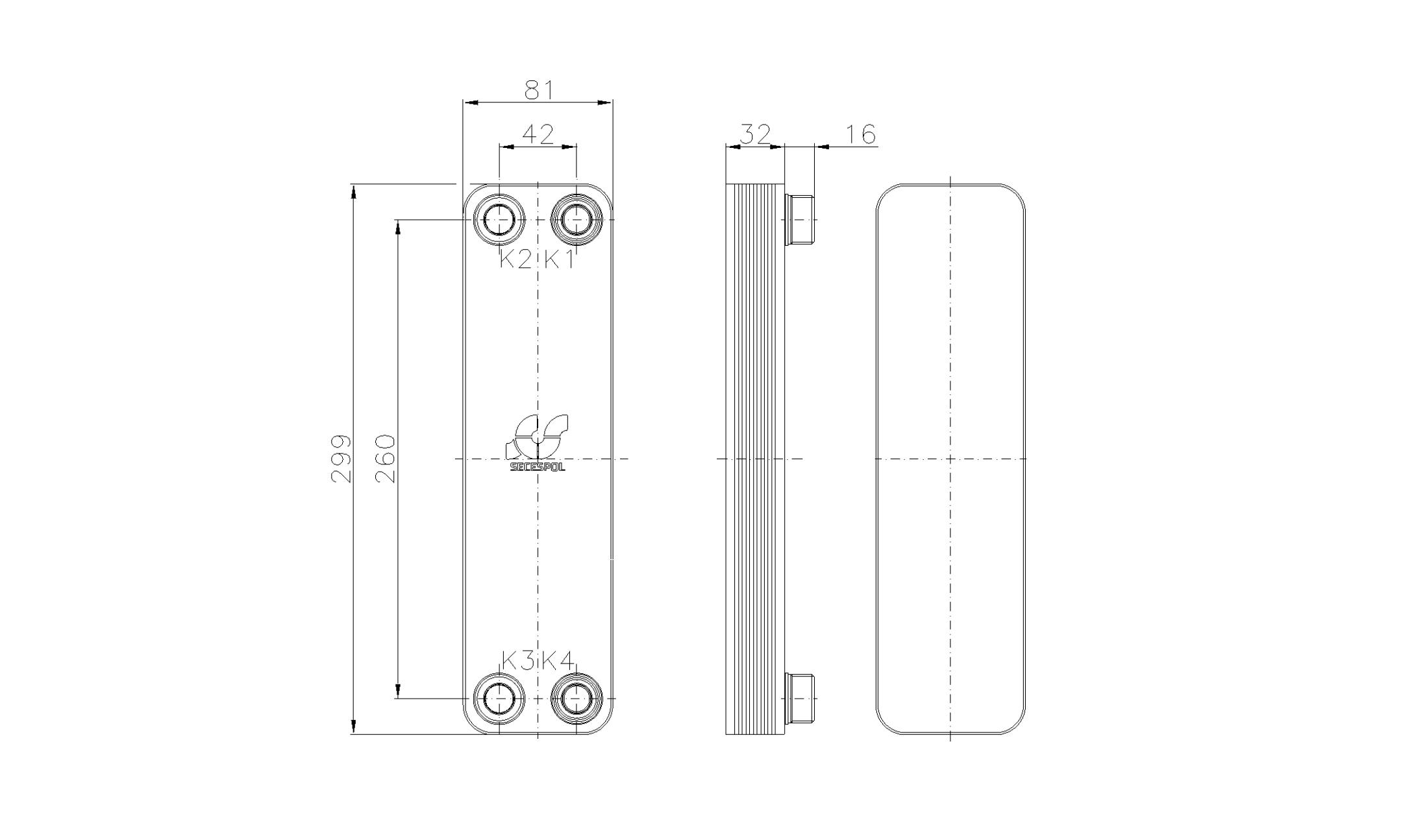 Габаритные размеры паяного пластинчатого теплообменника Secespol RA22-10