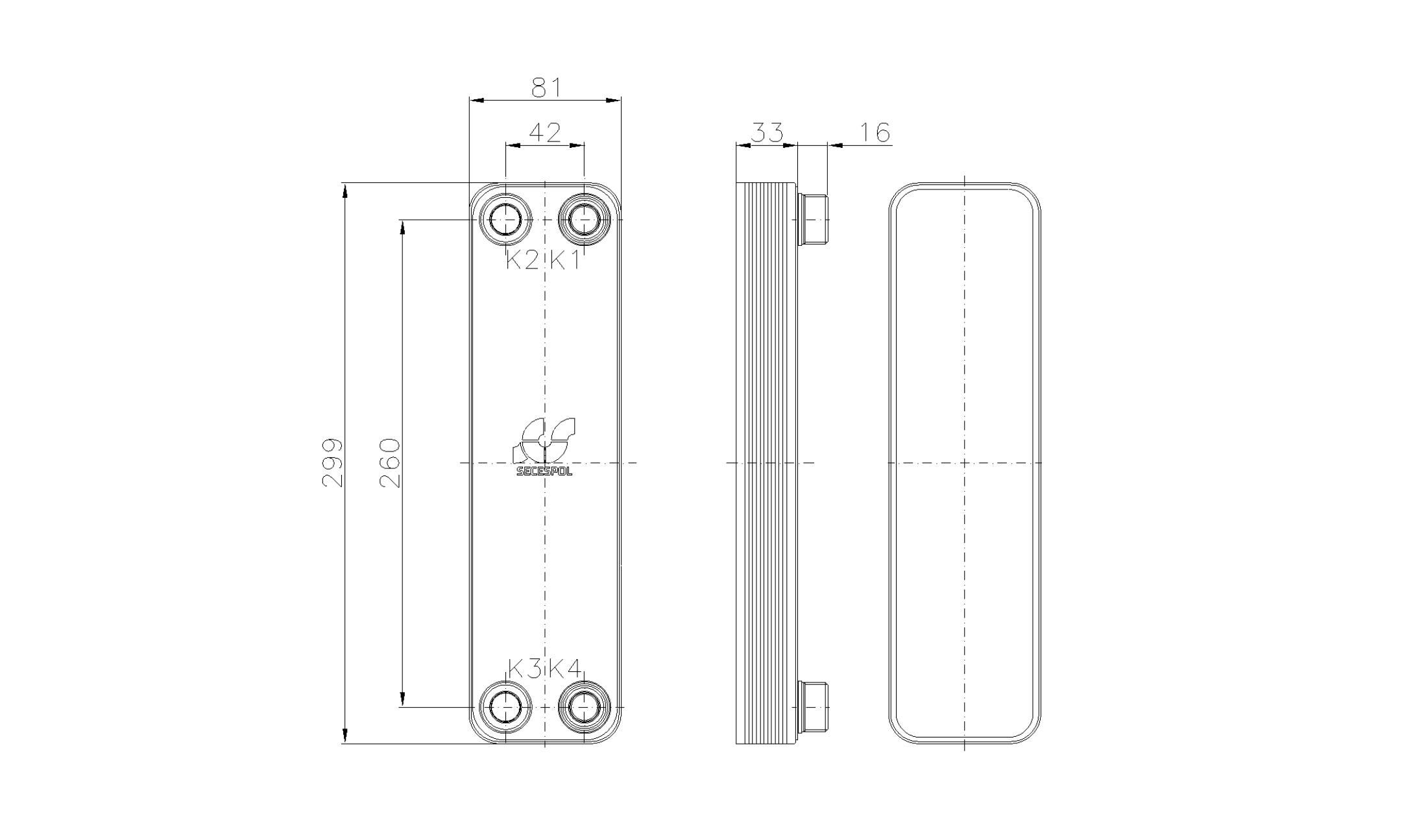 Габаритные размеры паяного пластинчатого теплообменника Secespol RHA22-10