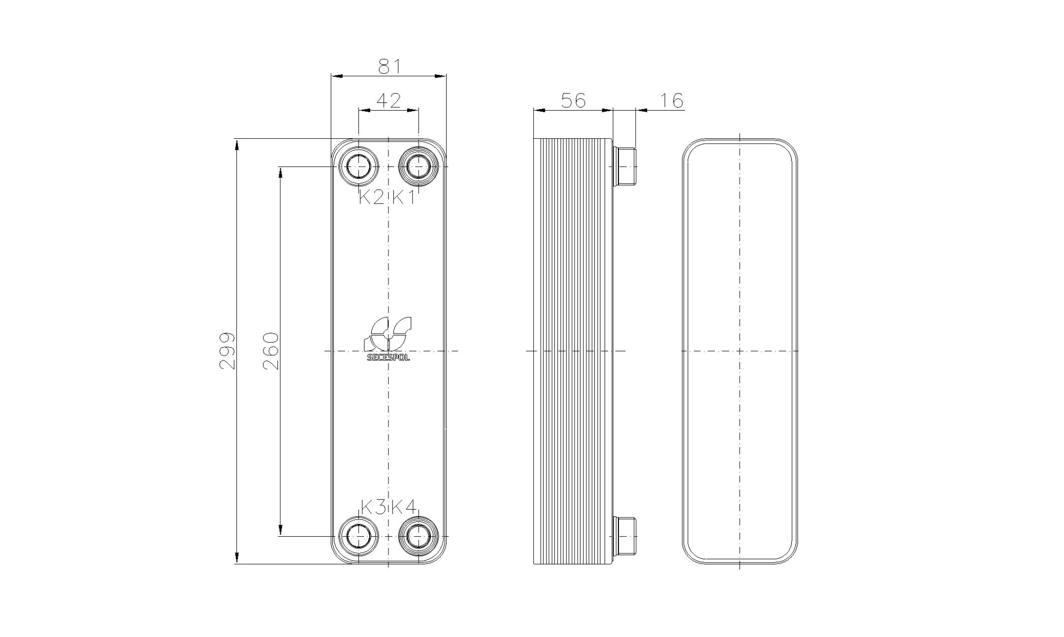 Габаритные размеры паяного пластинчатого теплообменника Secespol RHA22-20