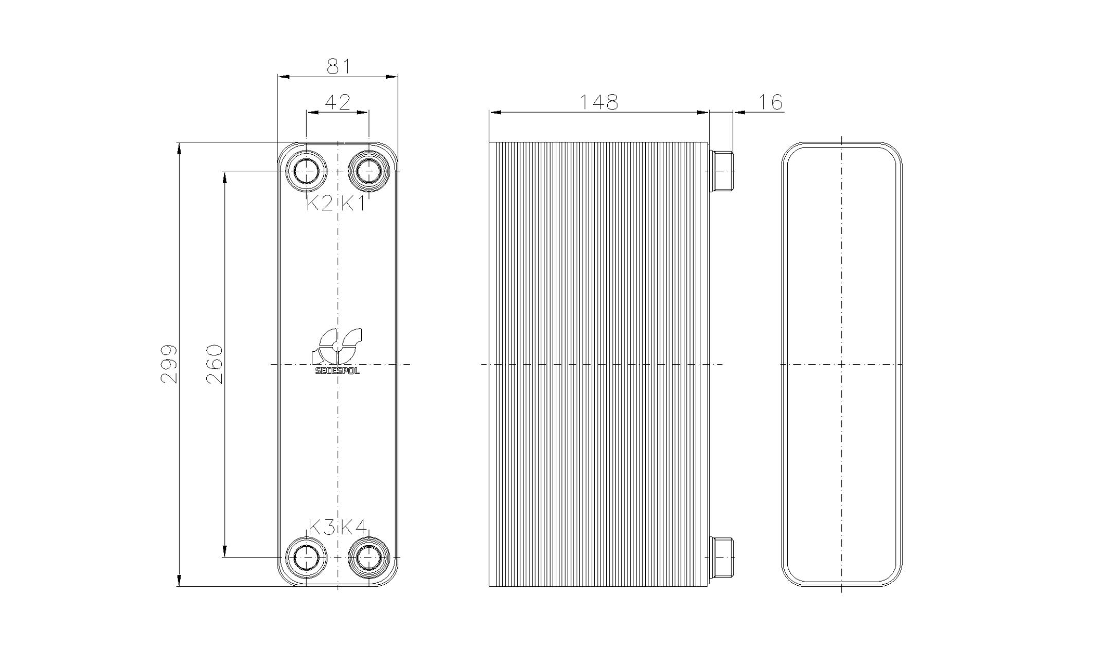 Габаритные размеры паяного пластинчатого теплообменника Secespol RHA22-60