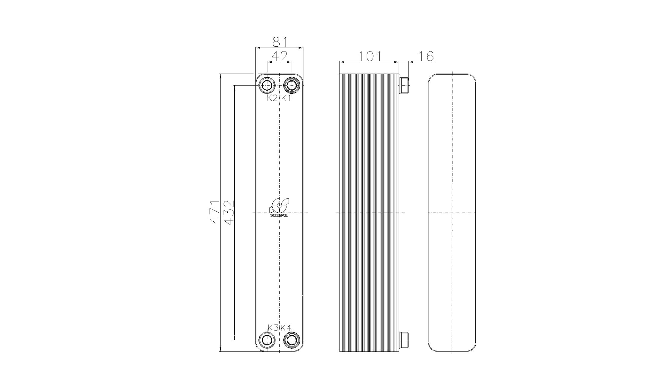 Габаритные размеры паяного пластинчатого теплообменника Secespol RA34-40