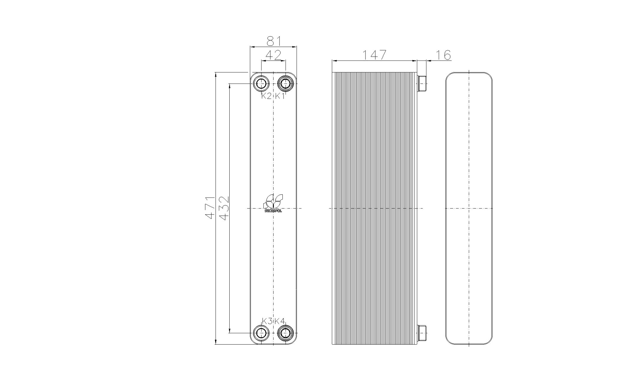 Габаритные размеры паяного пластинчатого теплообменника Secespol RA34-60