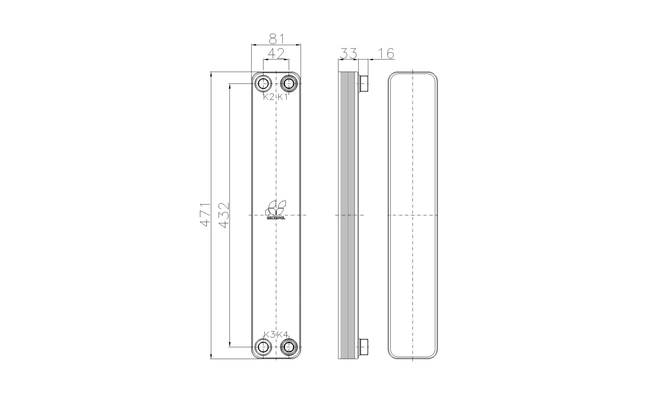 Габаритные размеры паяного пластинчатого теплообменника Secespol RHA34-10