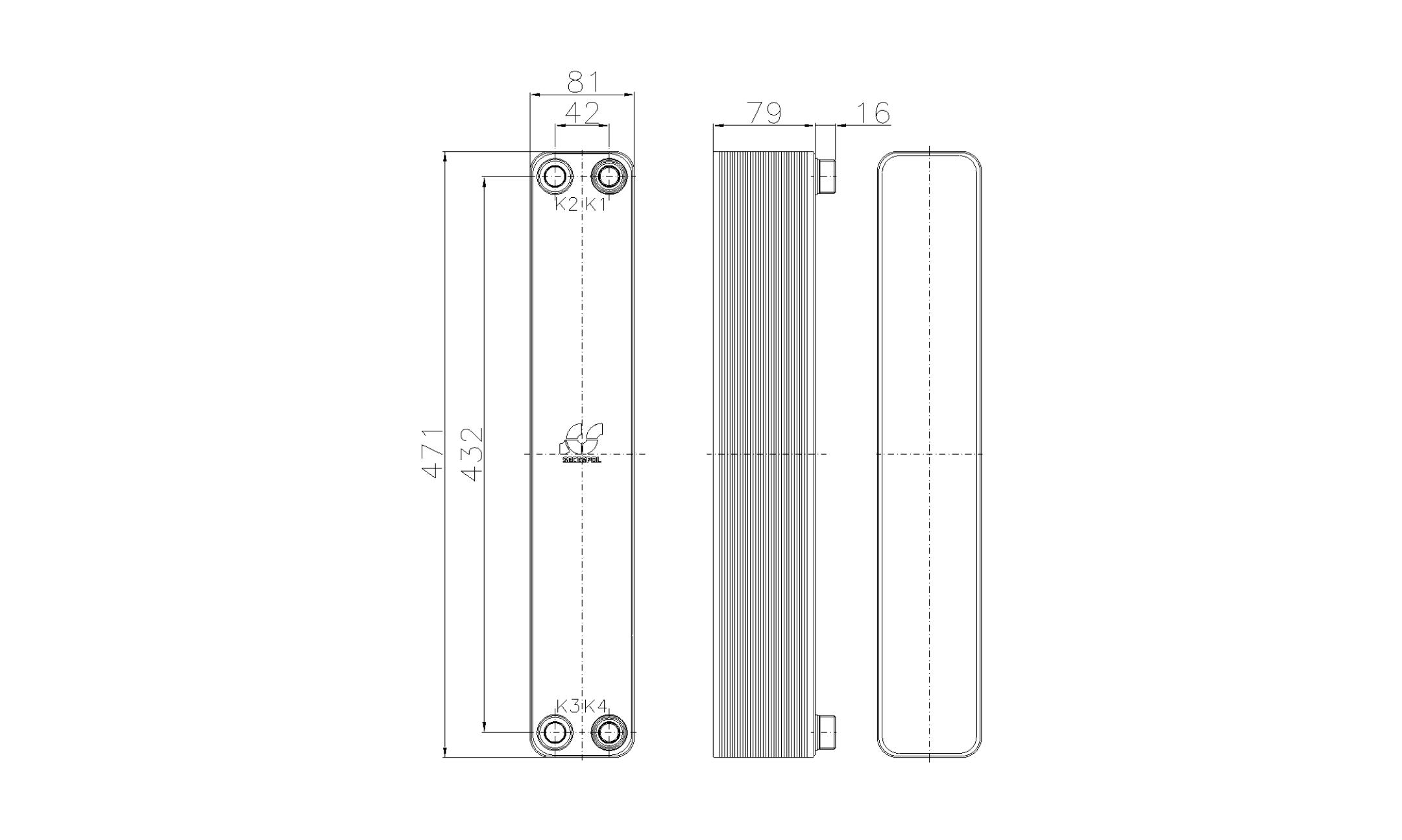 Габаритные размеры паяного пластинчатого теплообменника Secespol RHA34-30