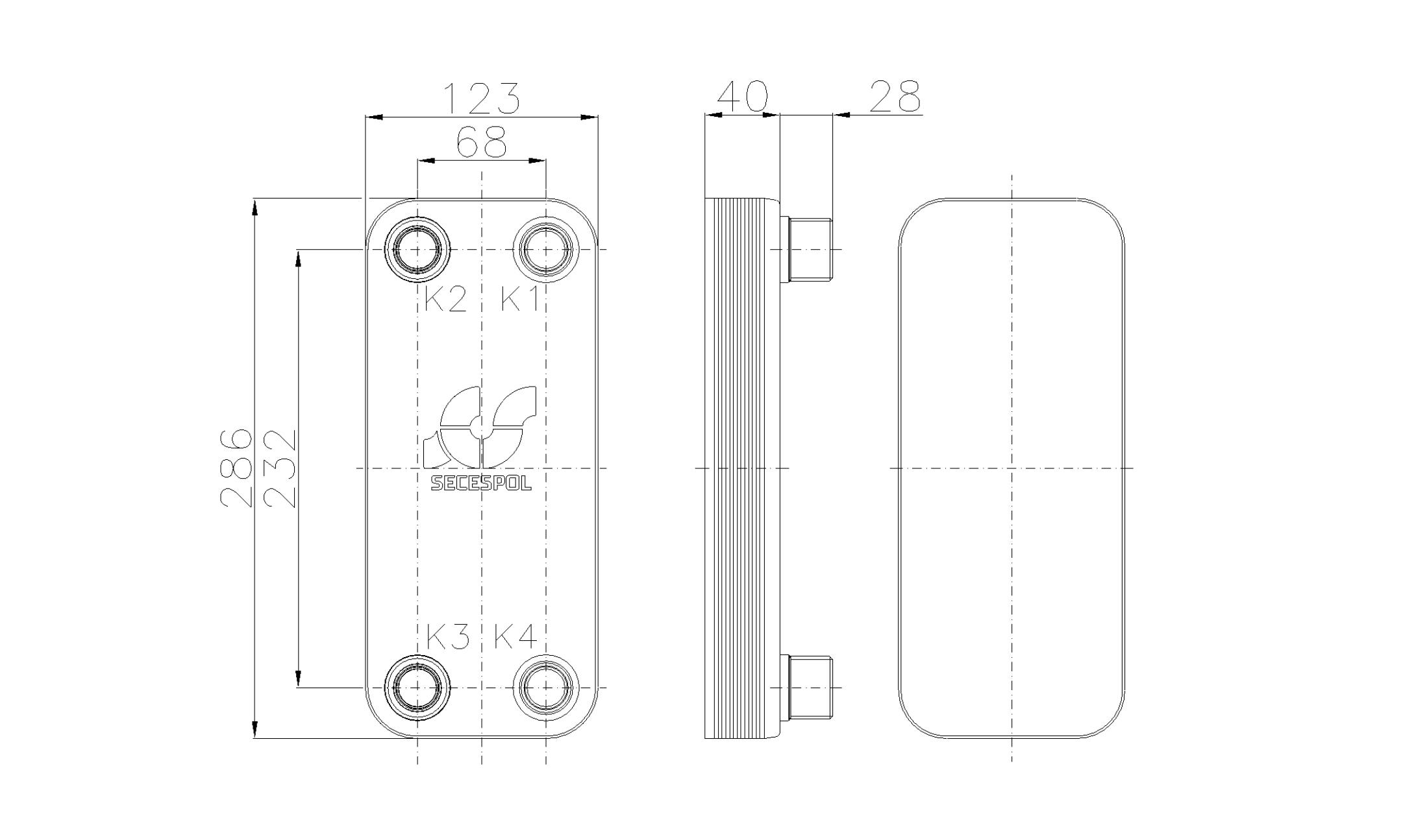 Габаритные размеры паяного пластинчатого теплообменника Secespol RB31-10H