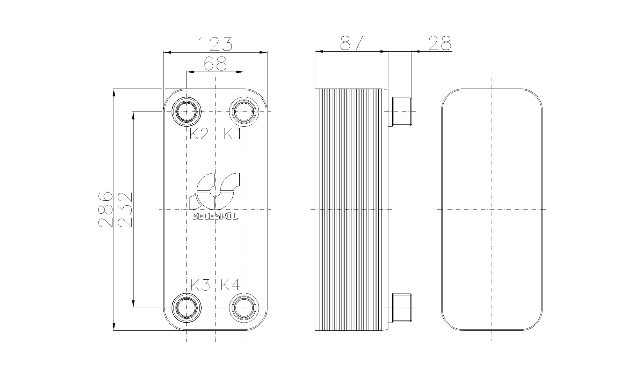 Габаритные размеры паяного пластинчатого теплообменника Secespol RHB31-30H