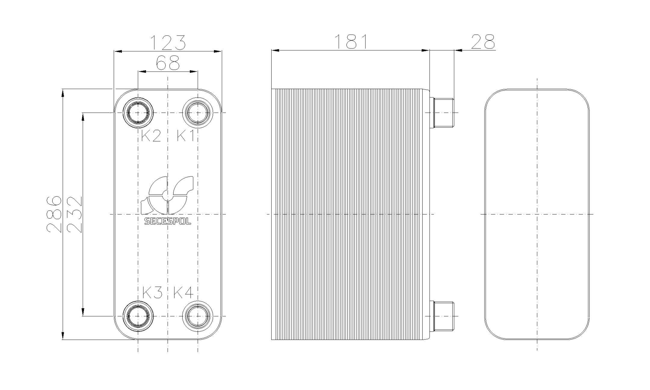 Габаритные размеры паяного пластинчатого теплообменника Secespol RB31-70H