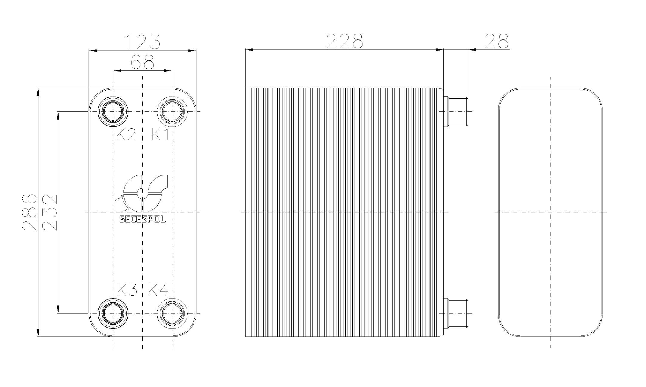 Габаритные размеры паяного пластинчатого теплообменника Secespol RB31-90H
