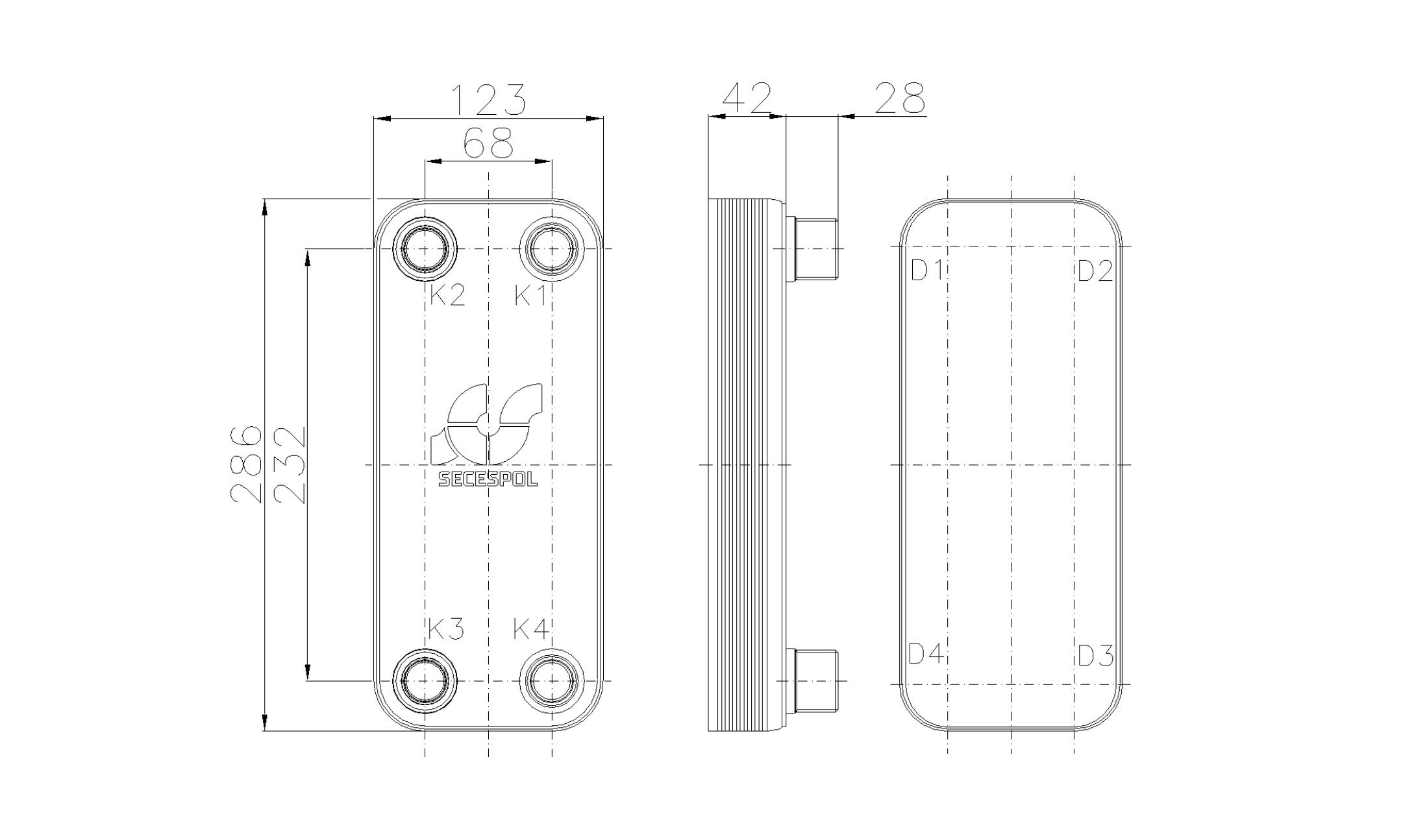 Габаритные размеры паяного пластинчатого теплообменника Secespol RHB31-10H