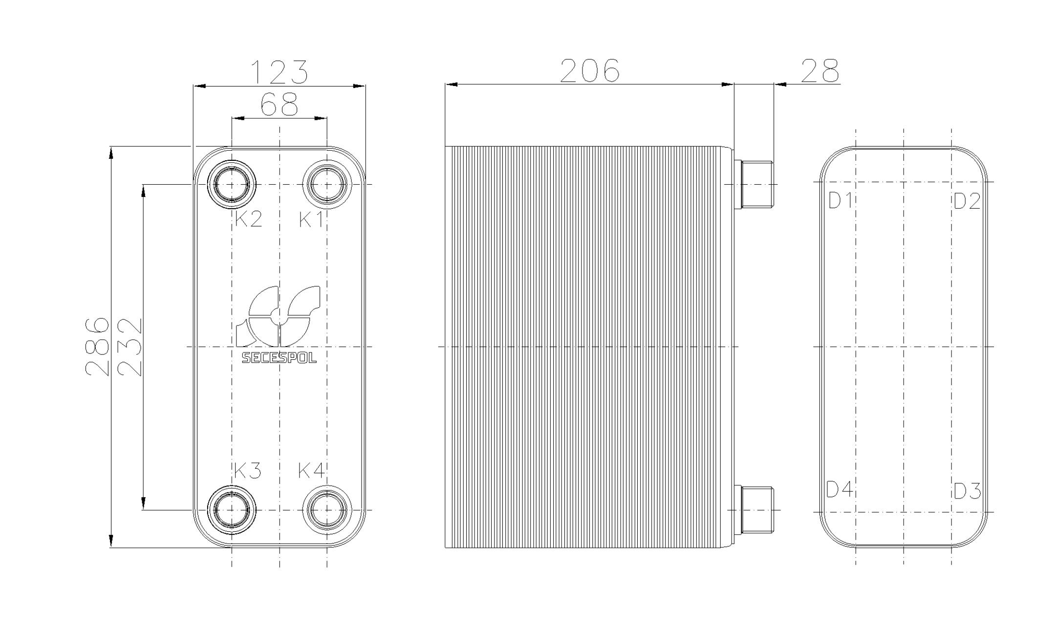 Габаритные размеры паяного пластинчатого теплообменника Secespol RHB31-80H
