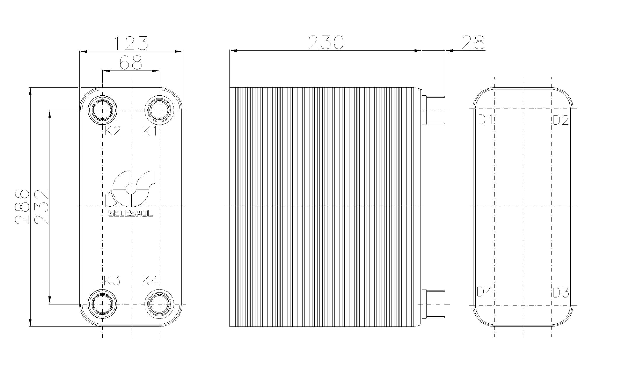 Габаритные размеры паяного пластинчатого теплообменника Secespol RHB31-90H