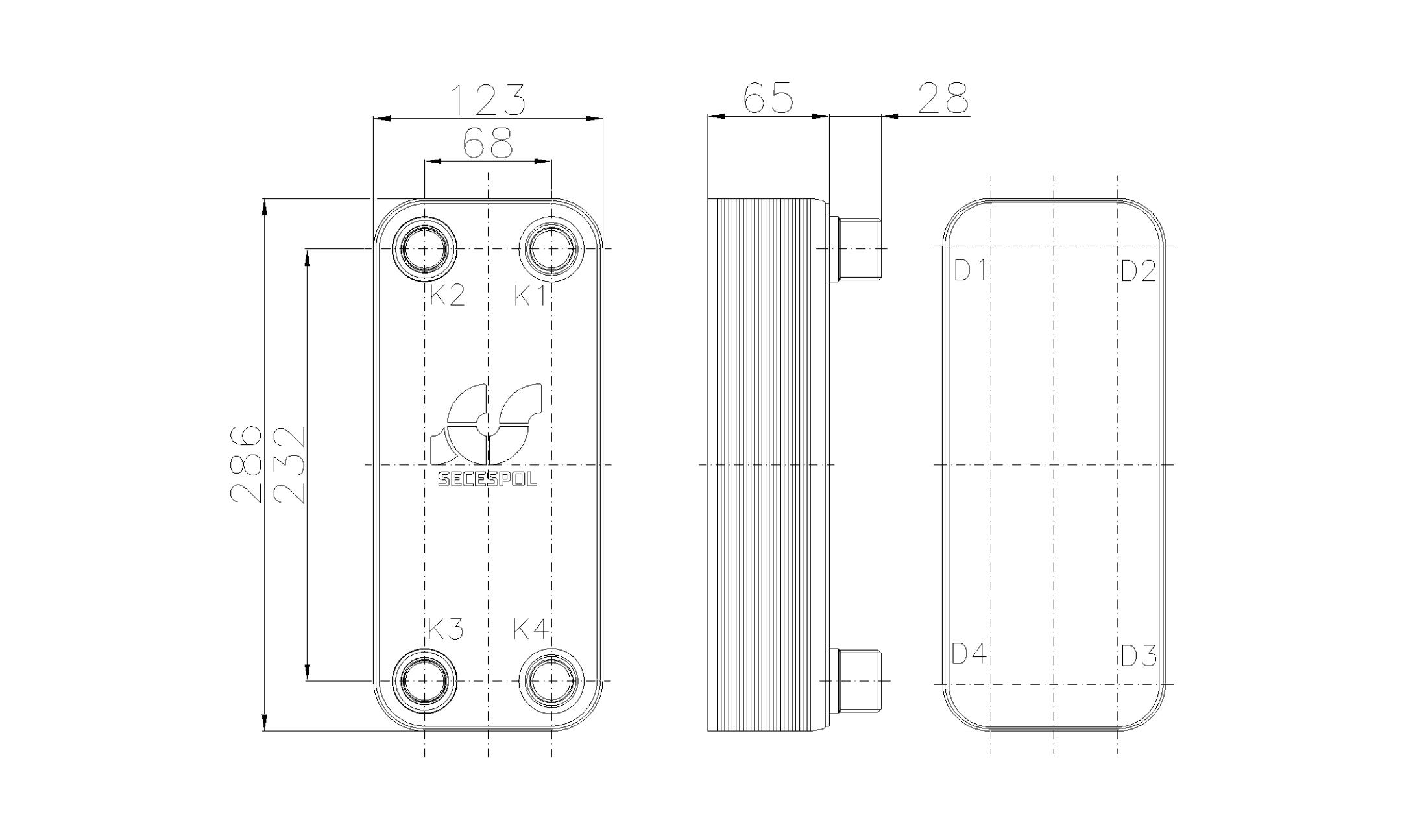 Габаритные размеры паяного пластинчатого теплообменника Secespol RHB31-20