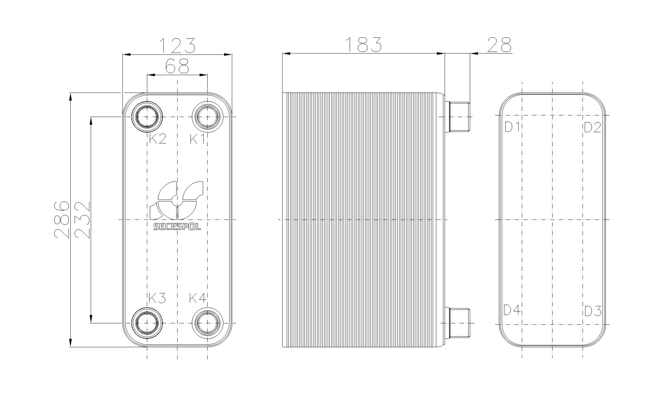 Габаритные размеры паяного пластинчатого теплообменника Secespol RHB31-70