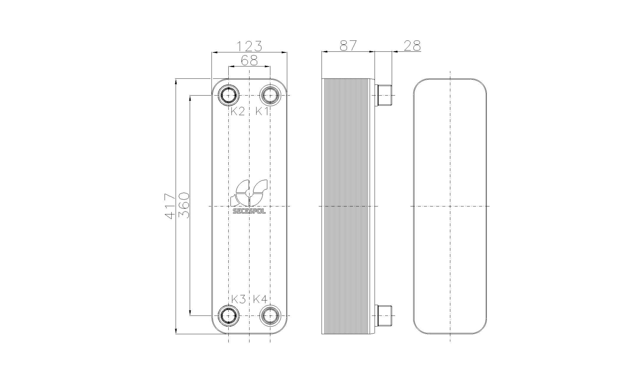 Габаритные размеры паяного пластинчатого теплообменника Secespol RB47-30H