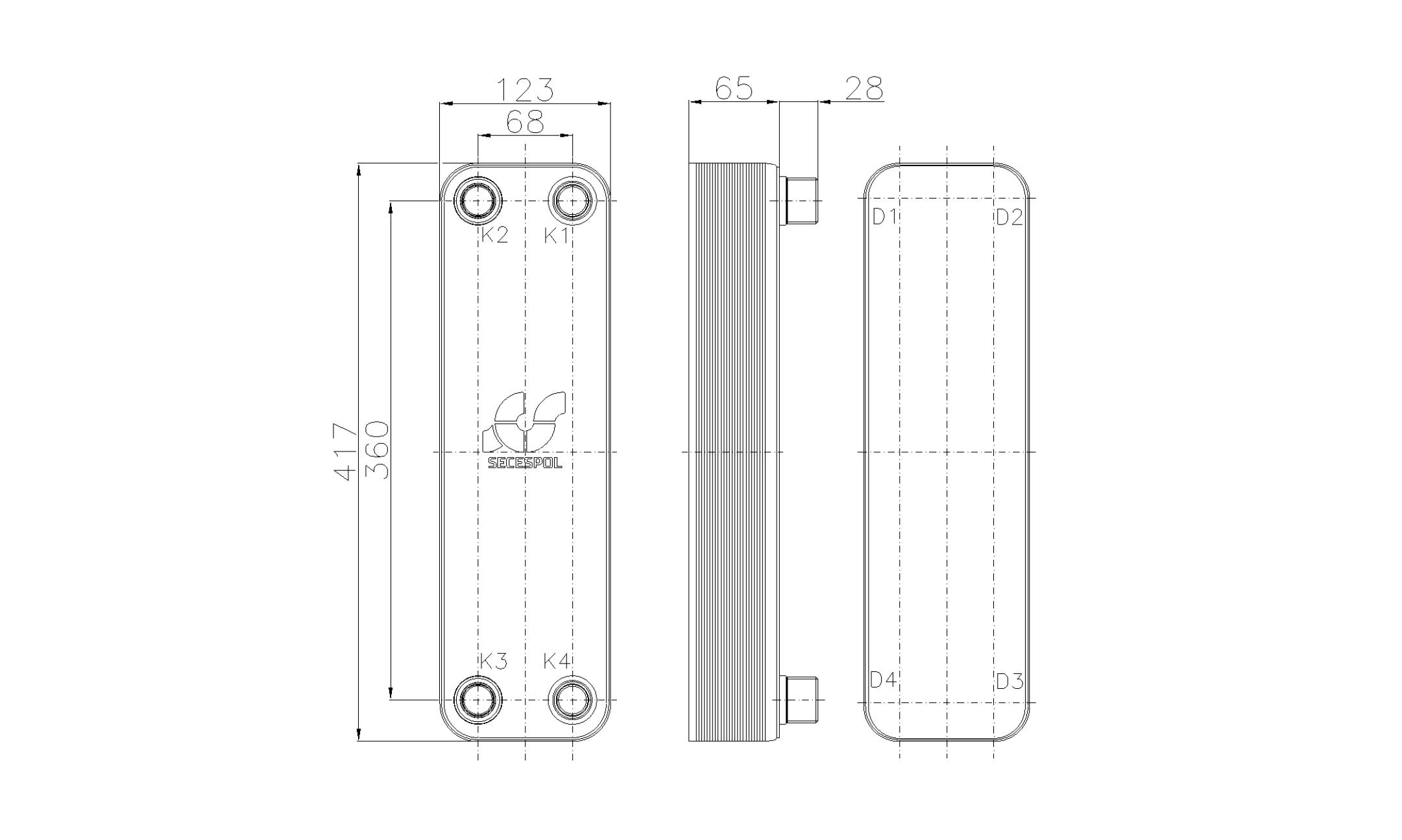 Габаритные размеры паяного пластинчатого теплообменника Secespol RHB47-20H