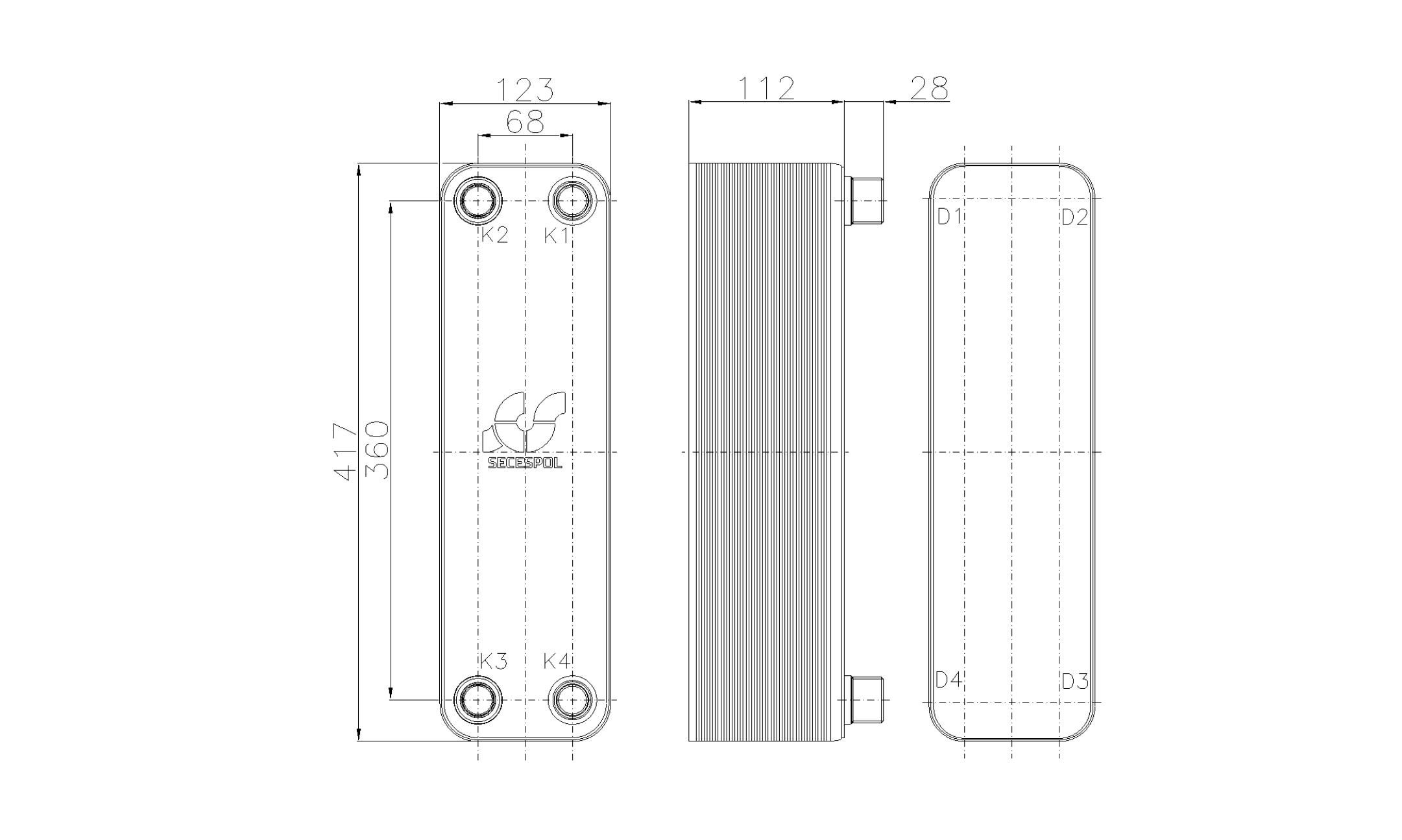 Габаритные размеры паяного пластинчатого теплообменника Secespol RHB47-40H