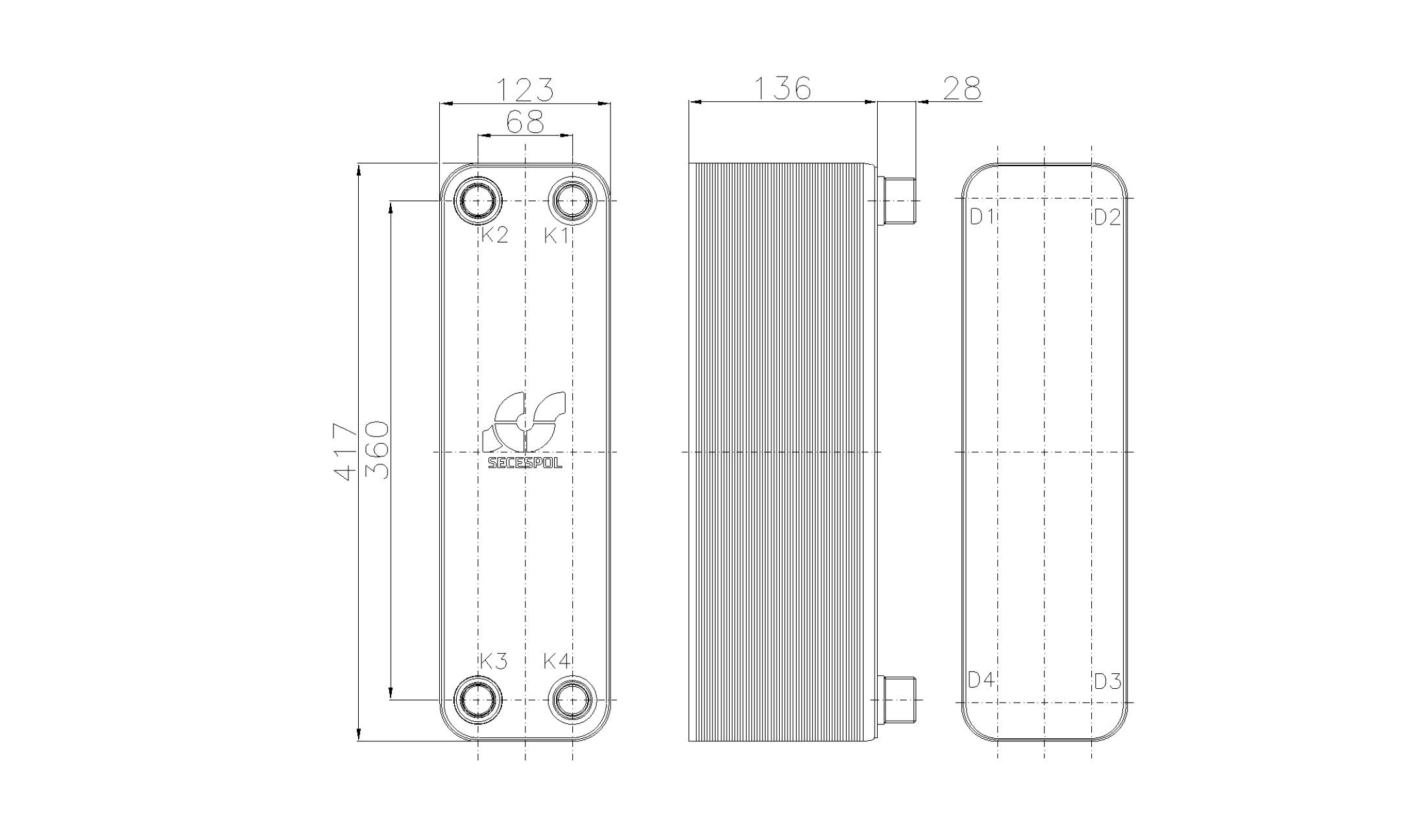 Габаритные размеры паяного пластинчатого теплообменника Secespol RHB47-50H