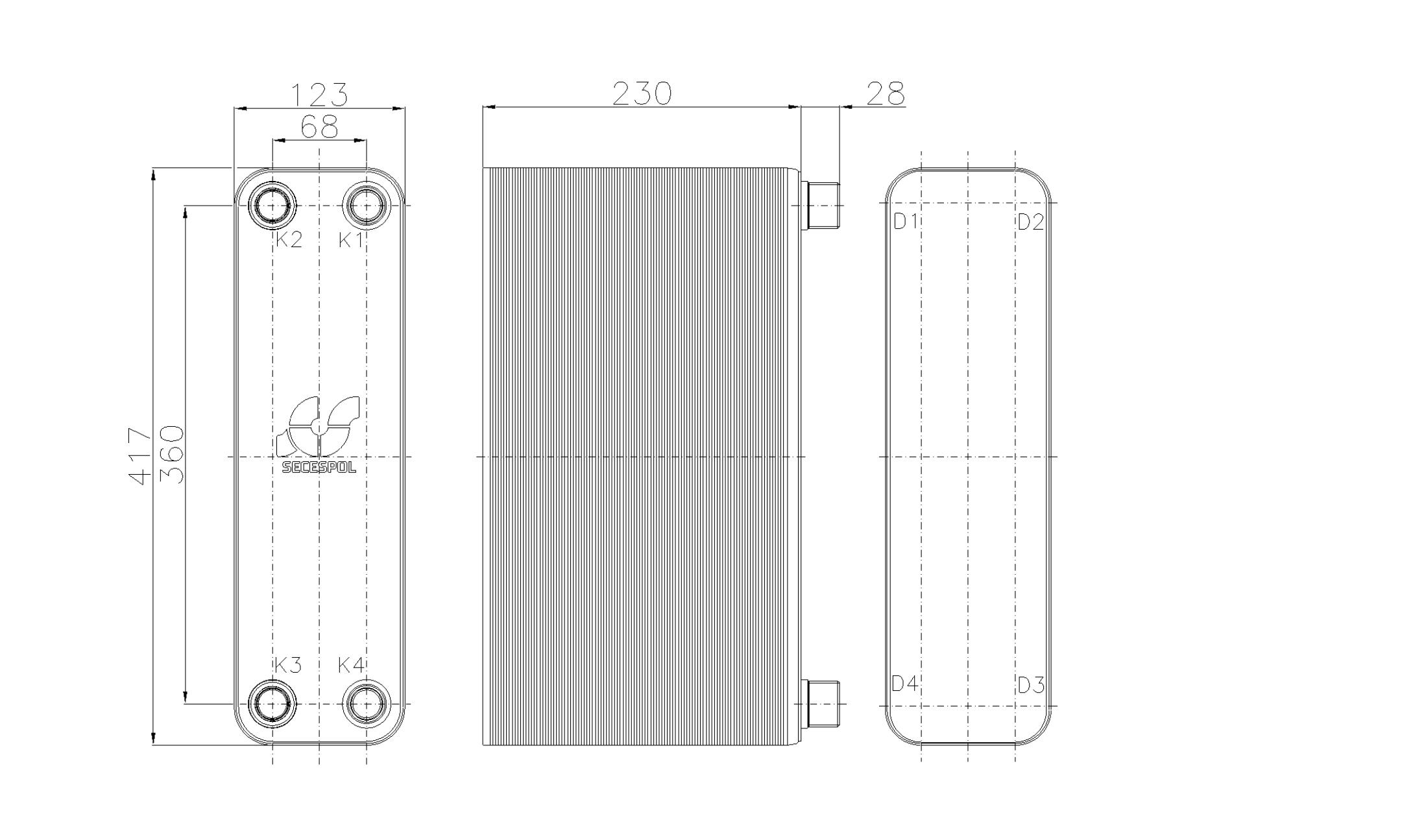 Габаритные размеры паяного пластинчатого теплообменника Secespol RHB47-90H