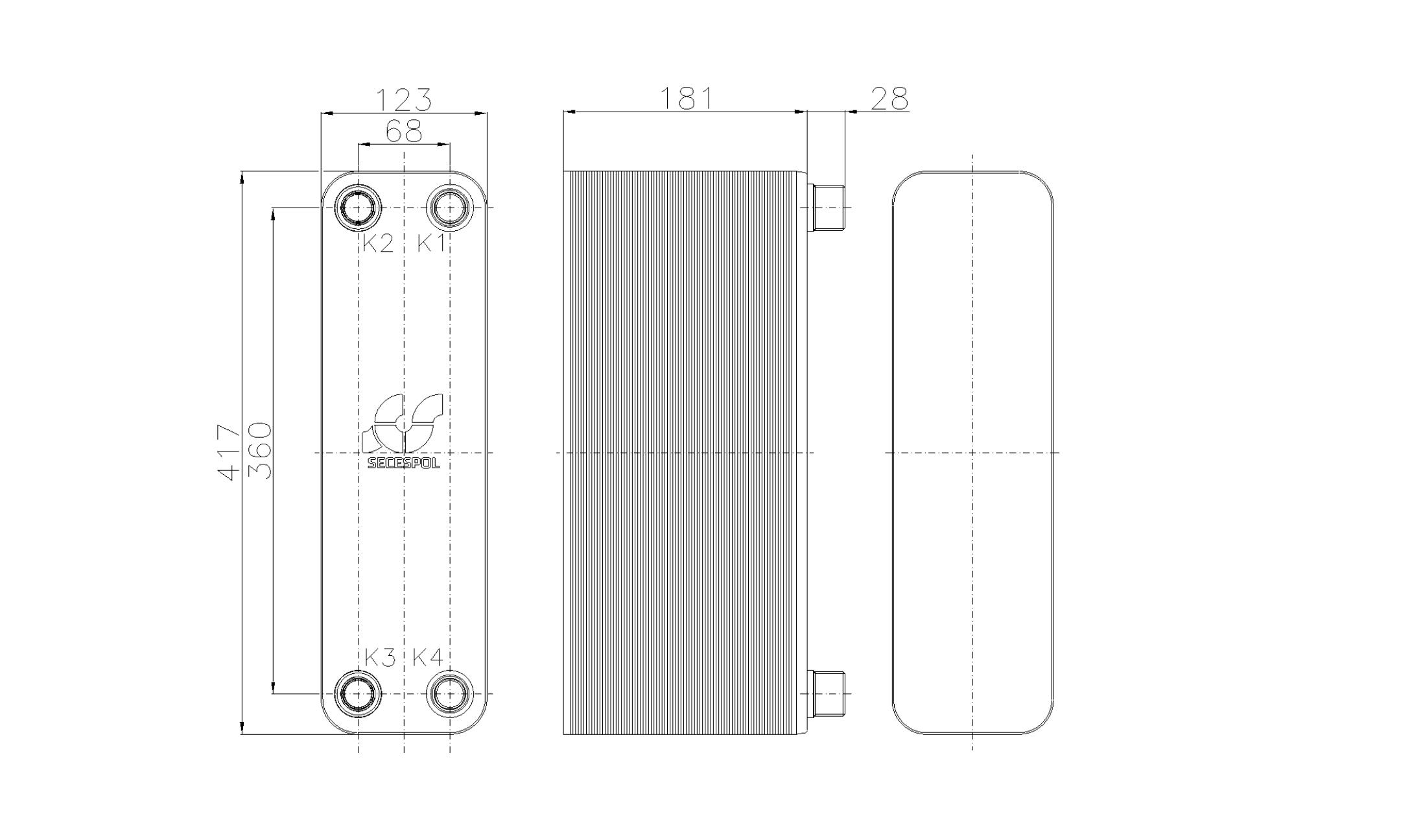 Габаритные размеры паяного пластинчатого теплообменника Secespol RB47-70H