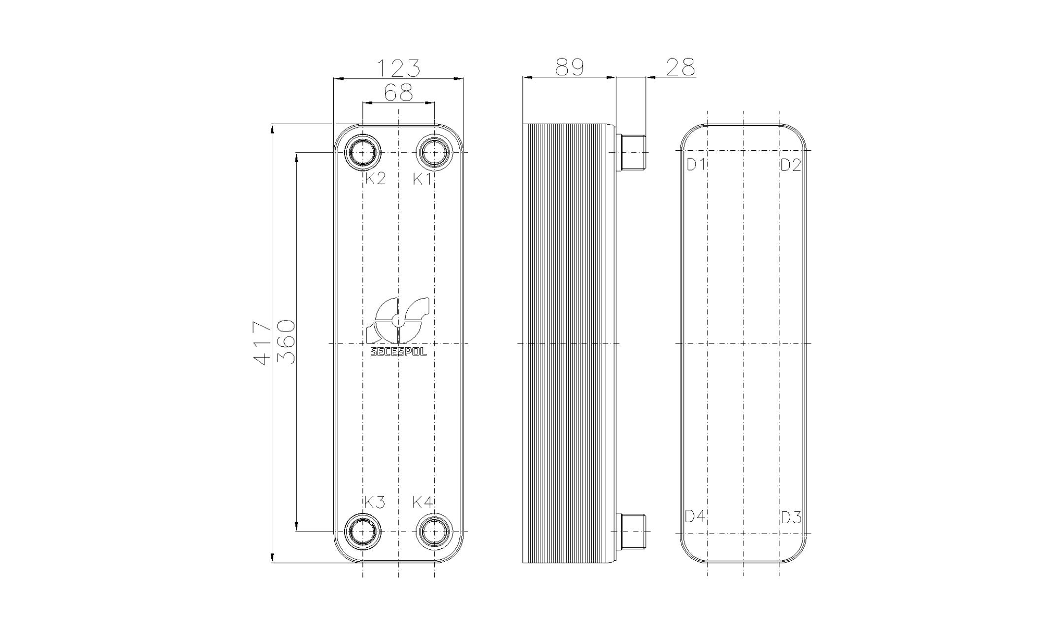 Габаритные размеры паяного пластинчатого теплообменника Secespol RHB47-30