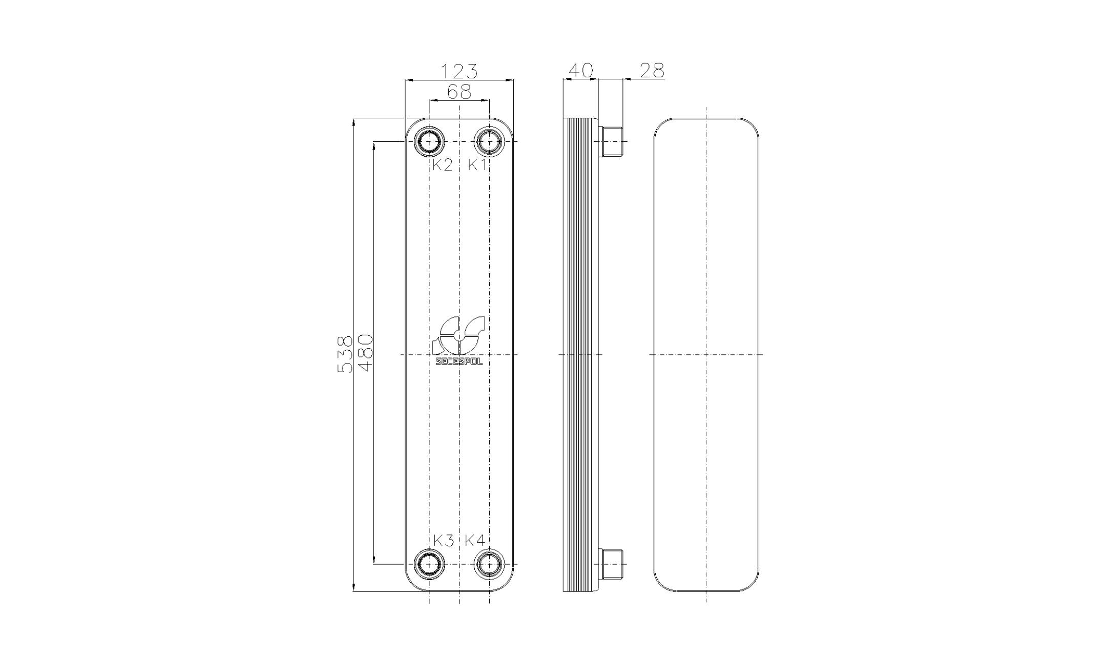 Габаритные размеры паяного пластинчатого теплообменника Secespol RB60-10H