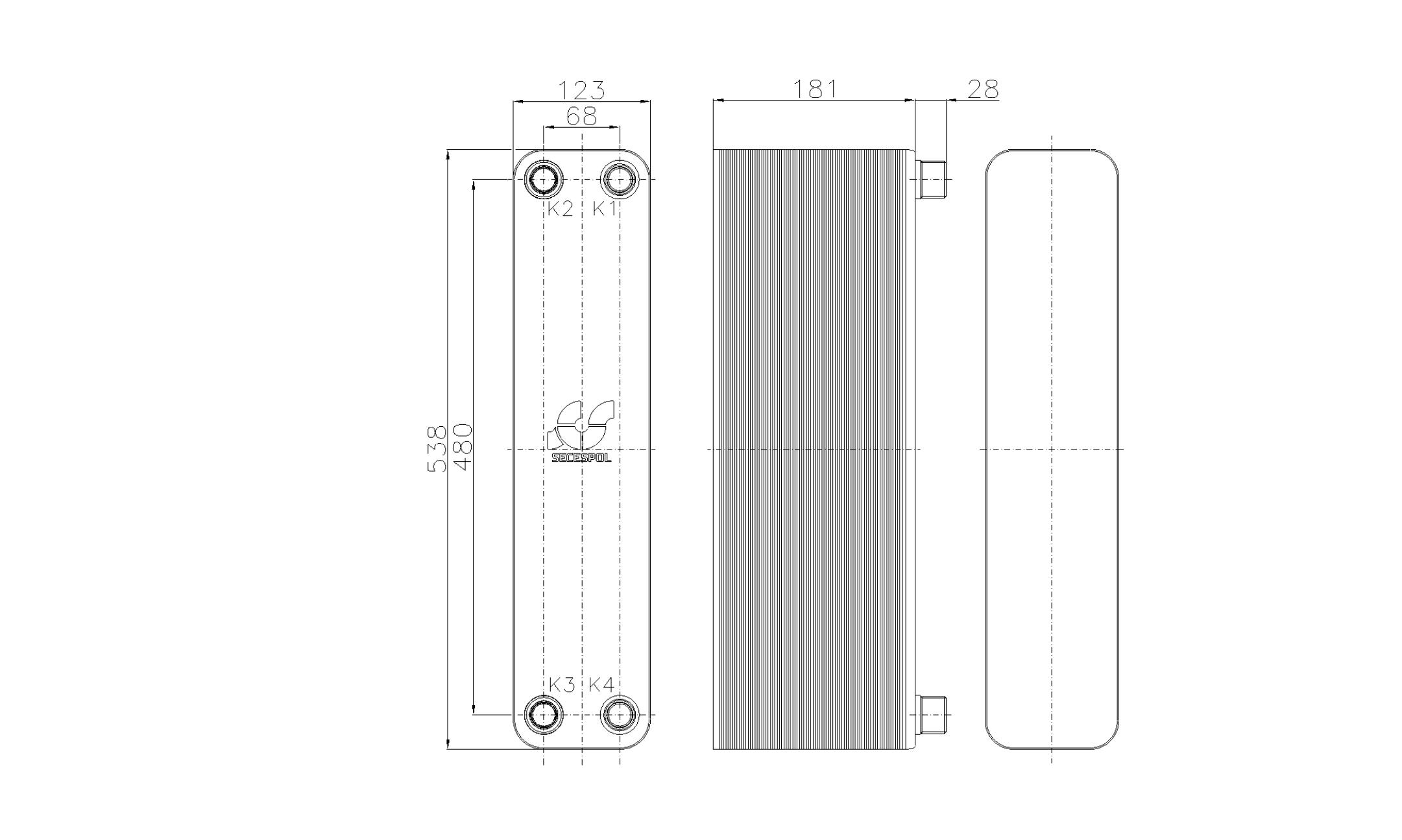 Габаритные размеры паяного пластинчатого теплообменника Secespol RB60-70H