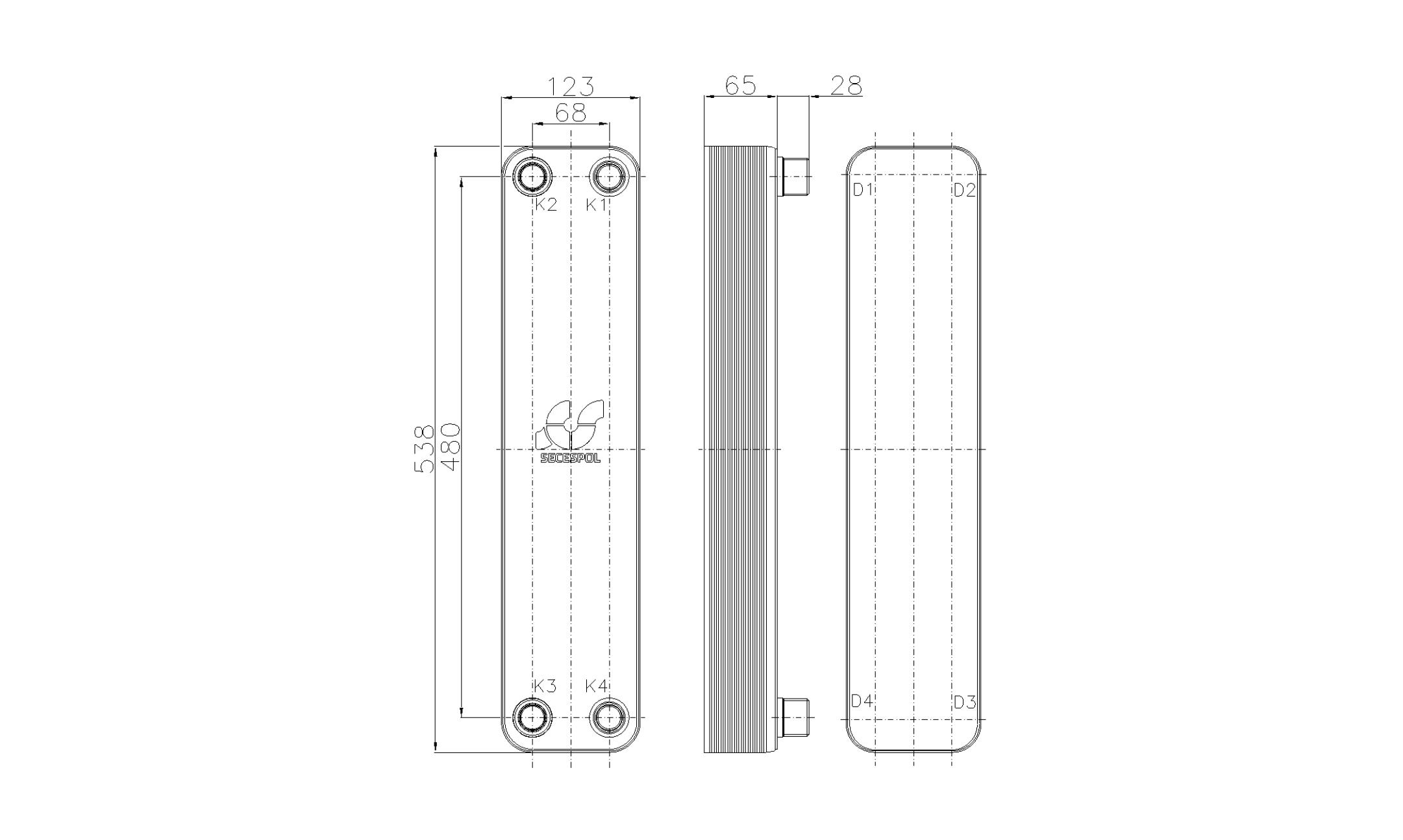Габаритные размеры паяного пластинчатого теплообменника Secespol RHB60-20H