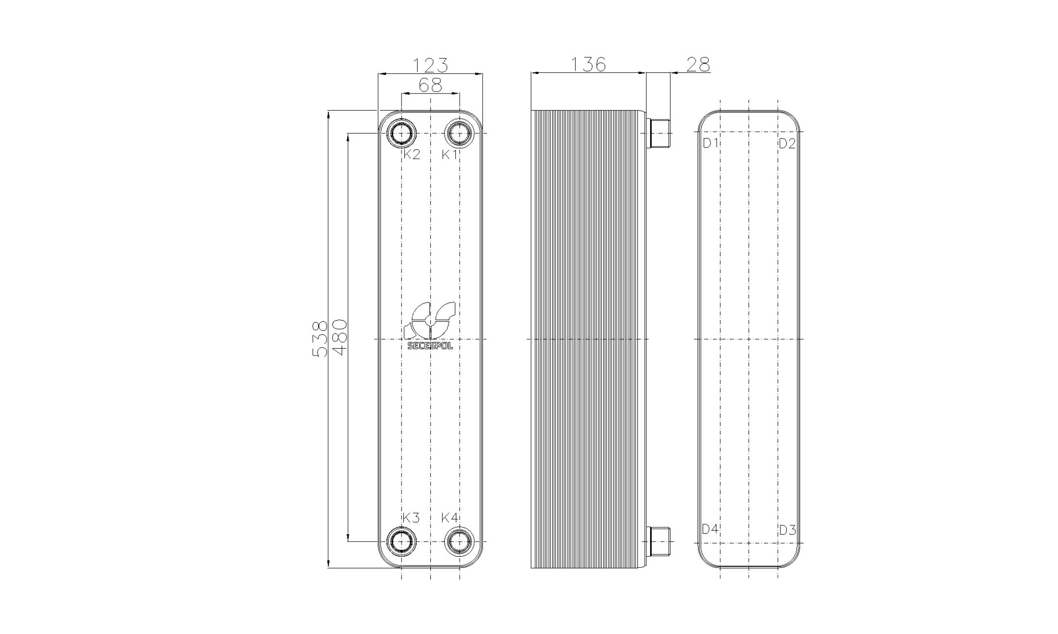 Габаритные размеры паяного пластинчатого теплообменника Secespol RHB60-50H