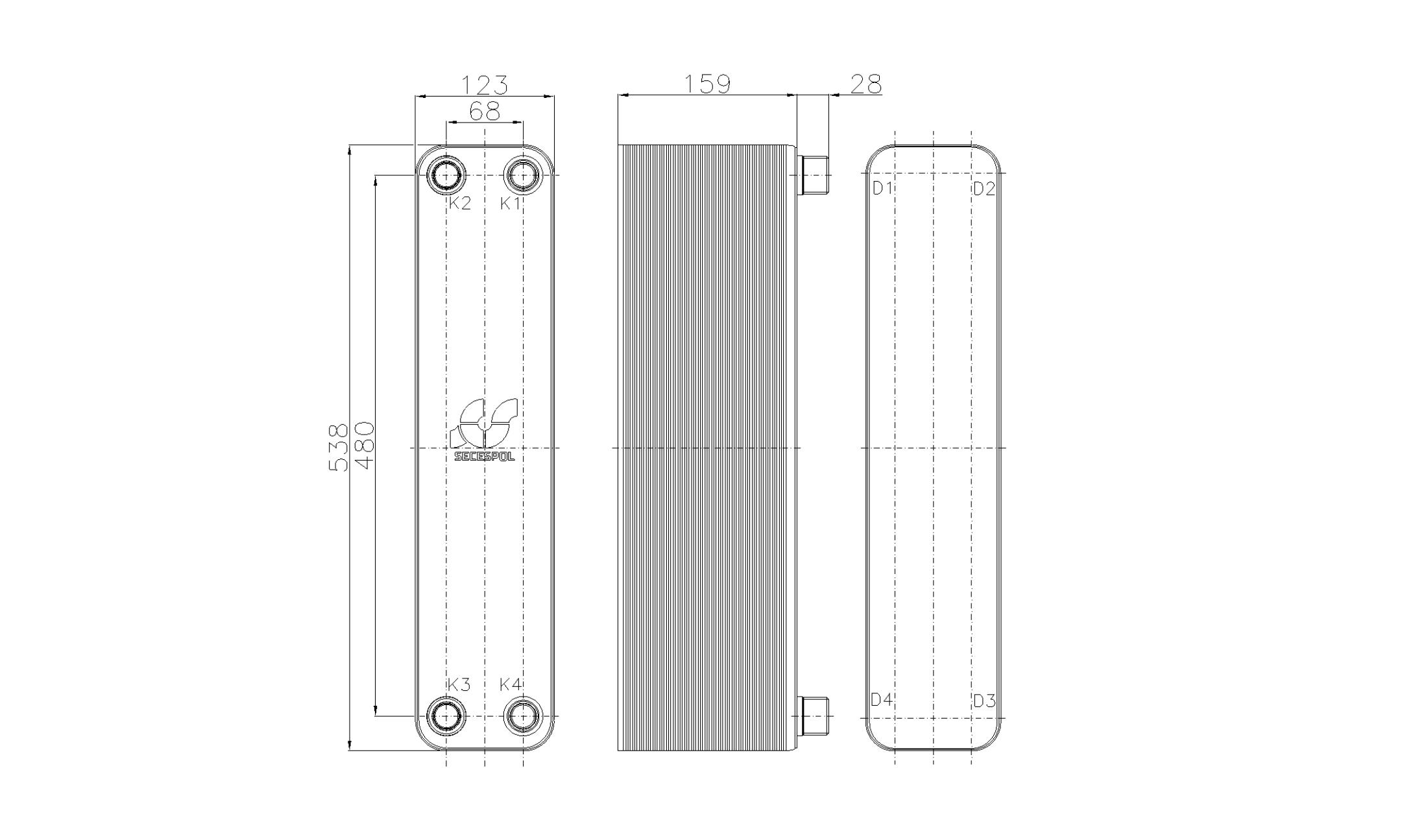 Габаритные размеры паяного пластинчатого теплообменника Secespol RHB60-60H