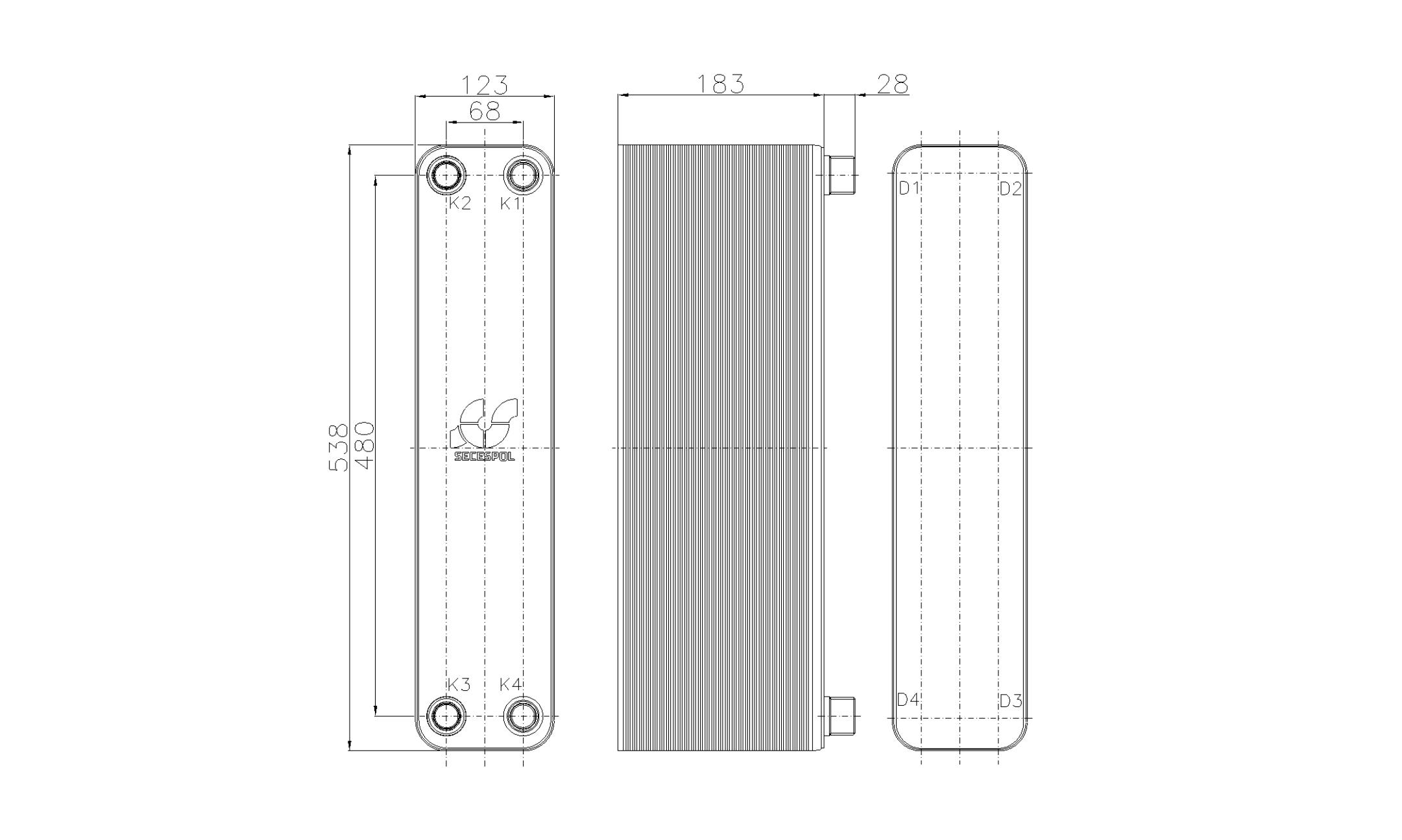 Габаритные размеры паяного пластинчатого теплообменника Secespol RHB60-70H