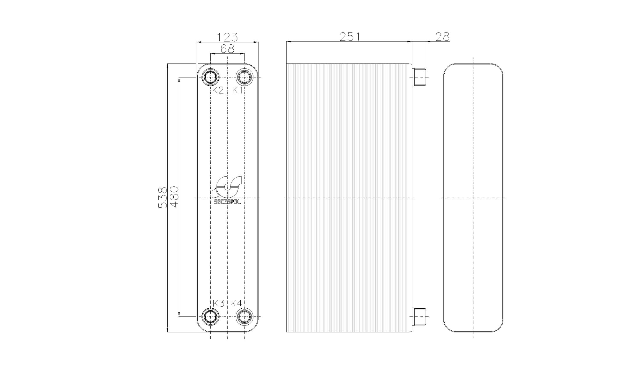 Габаритные размеры паяного пластинчатого теплообменника Secespol RB60-100