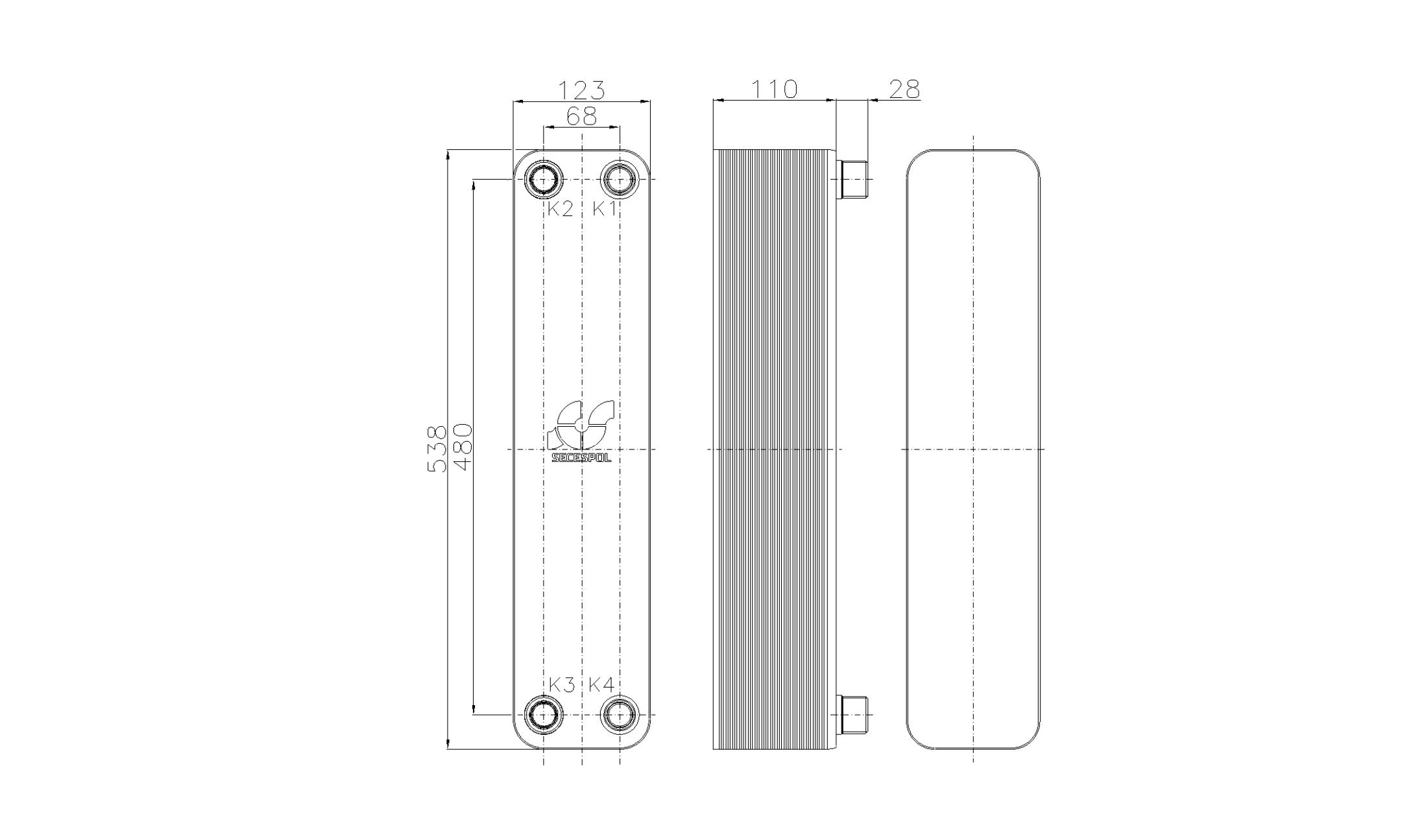 Габаритные размеры паяного пластинчатого теплообменника Secespol RB60-40