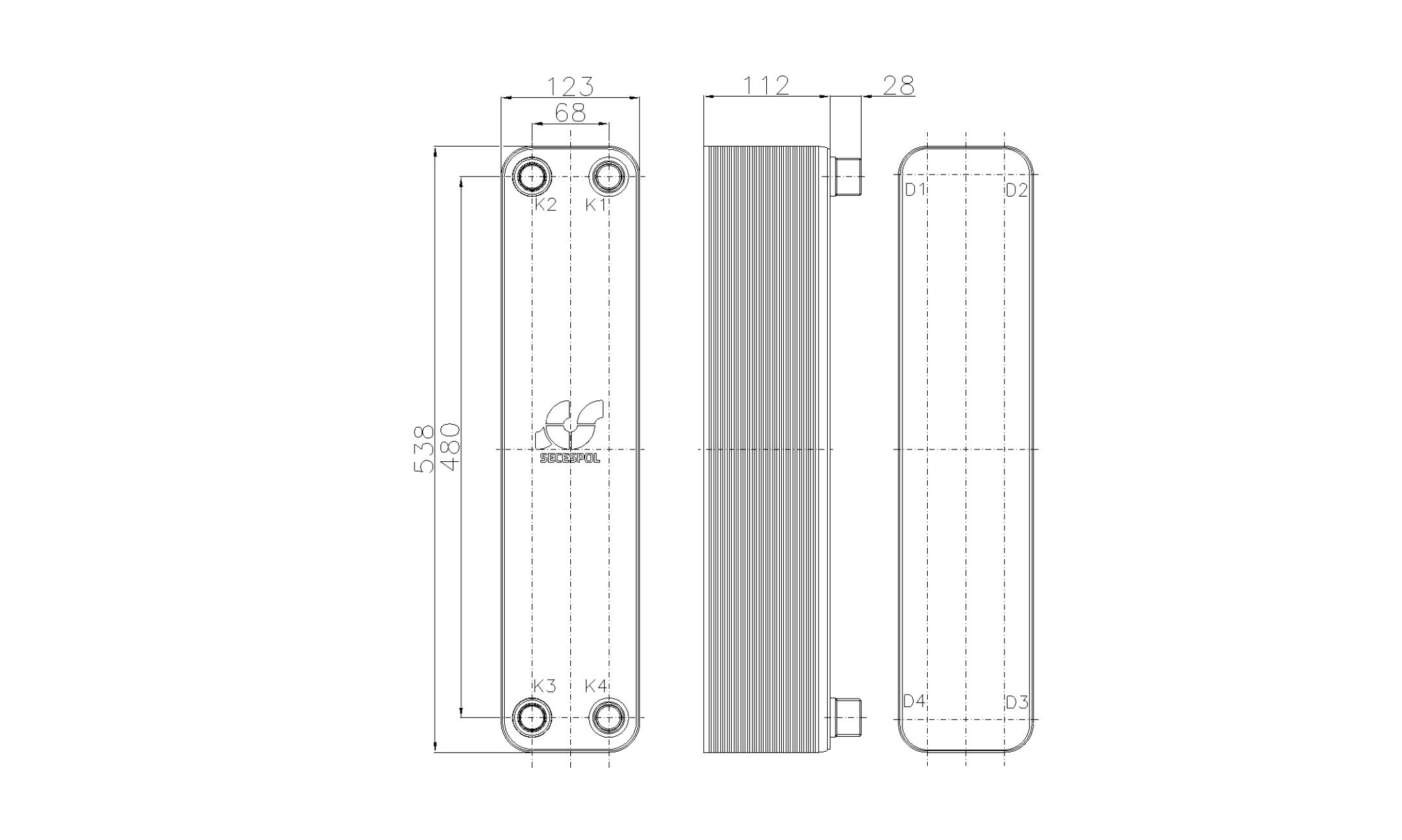 Габаритные размеры паяного пластинчатого теплообменника Secespol RHB60-40