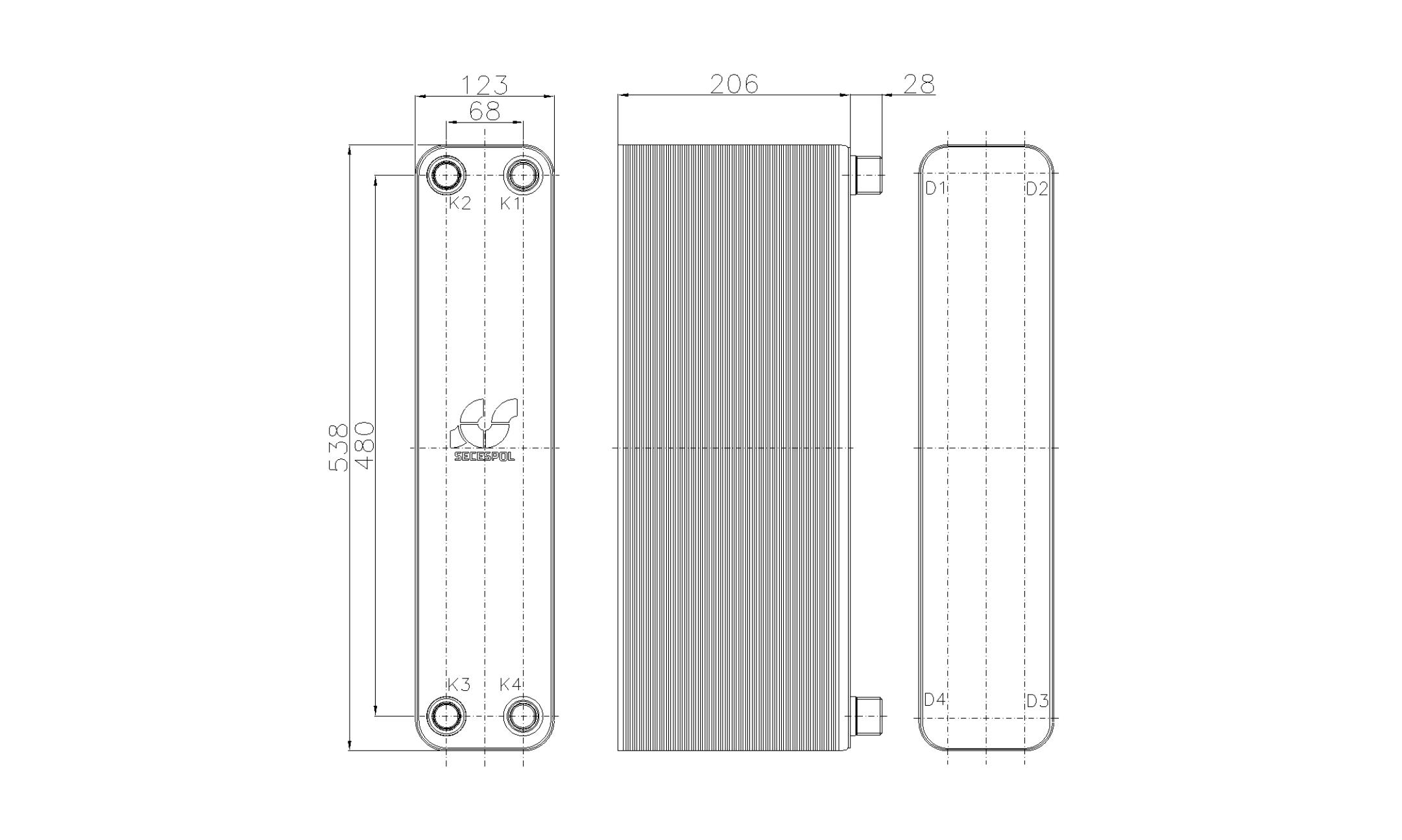 Габаритные размеры паяного пластинчатого теплообменника Secespol RHB60-80