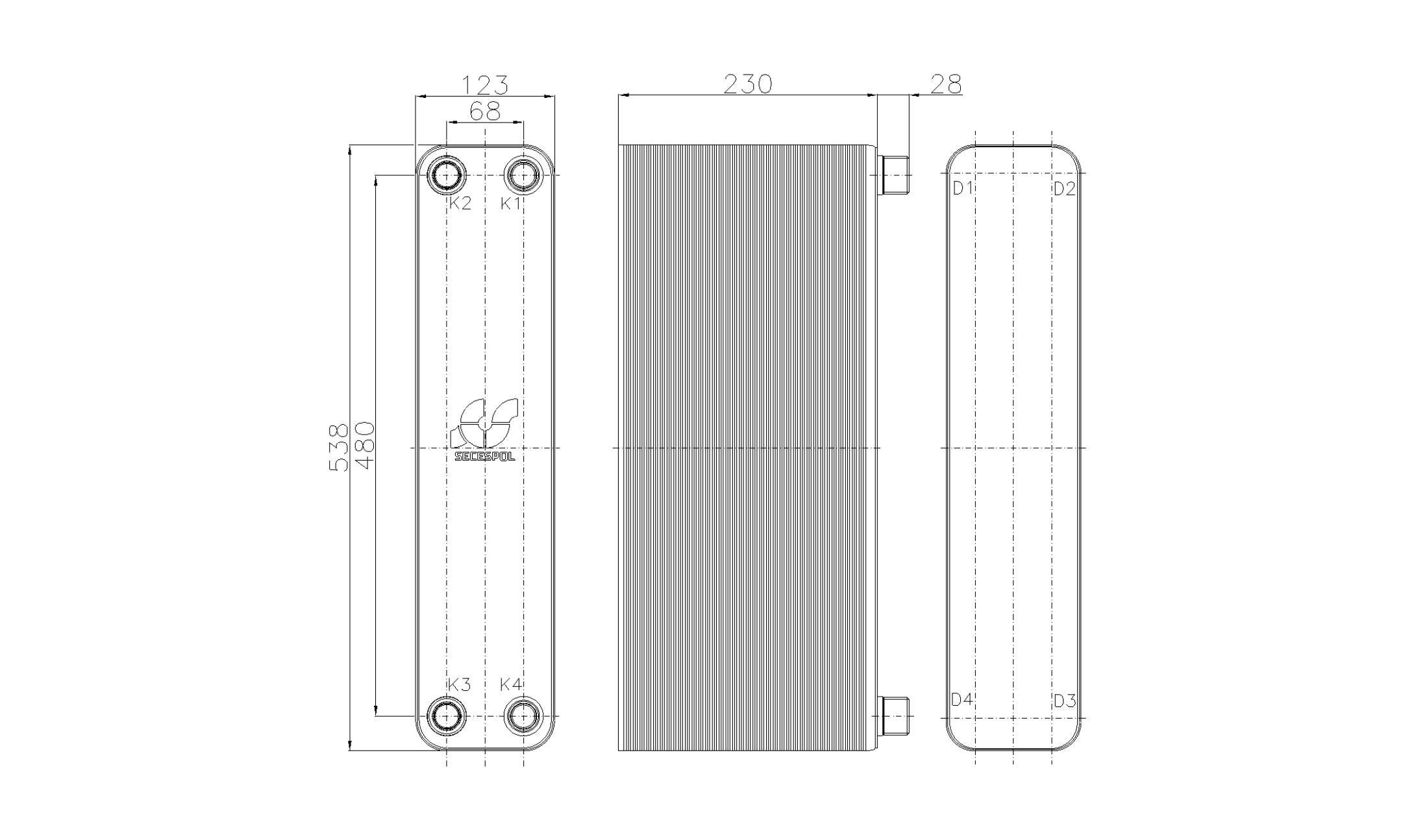 Габаритные размеры паяного пластинчатого теплообменника Secespol RHB60-90