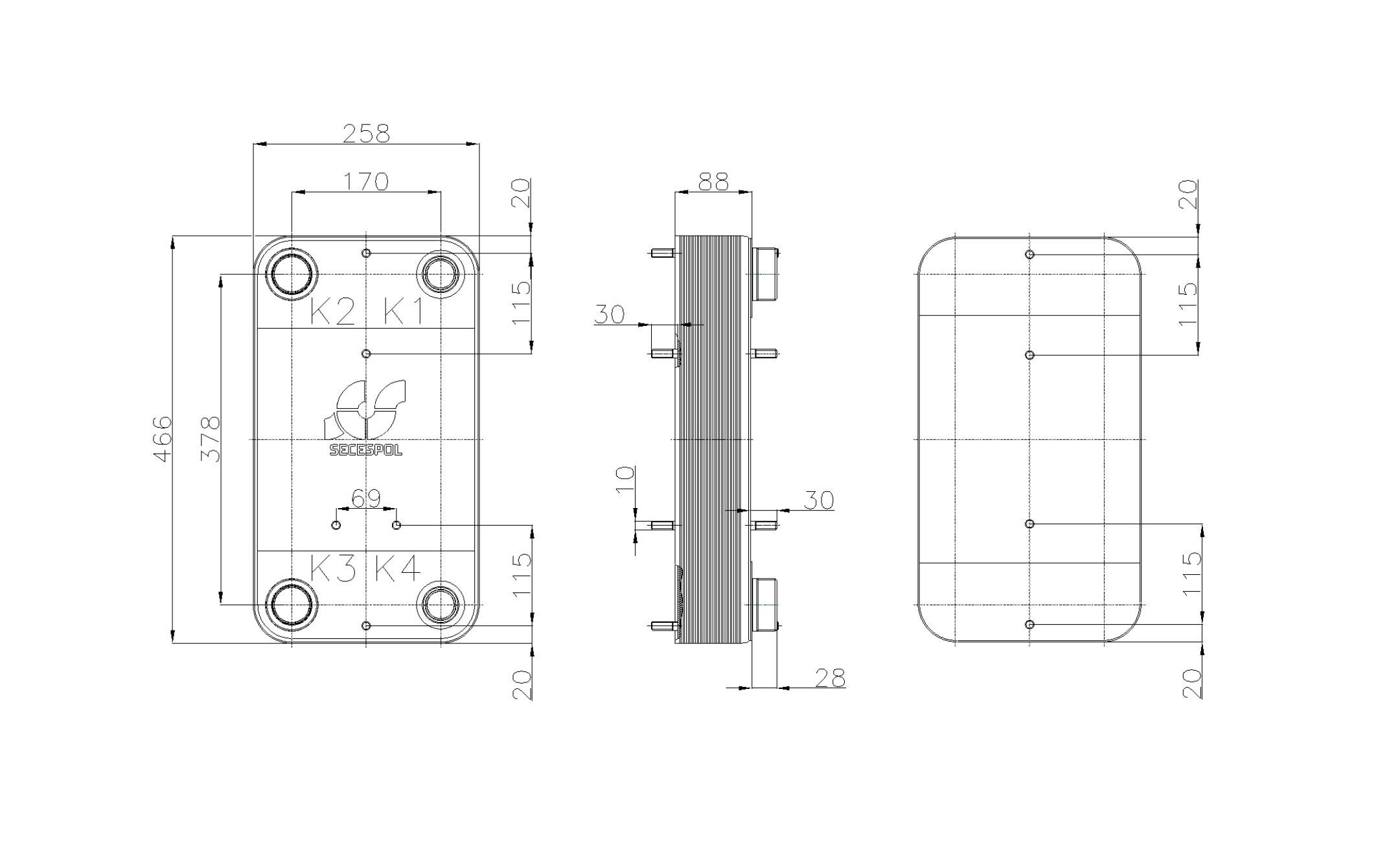 Габаритные размеры паяного пластинчатого теплообменника Secespol RC110-30L