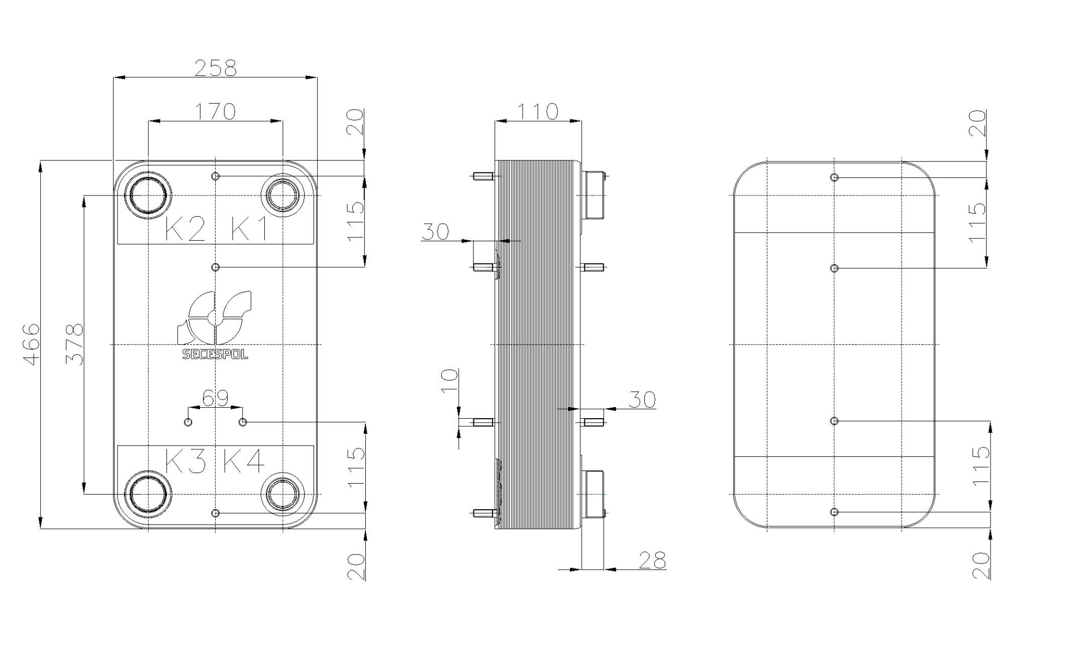 Габаритные размеры паяного пластинчатого теплообменника Secespol RC110-40L