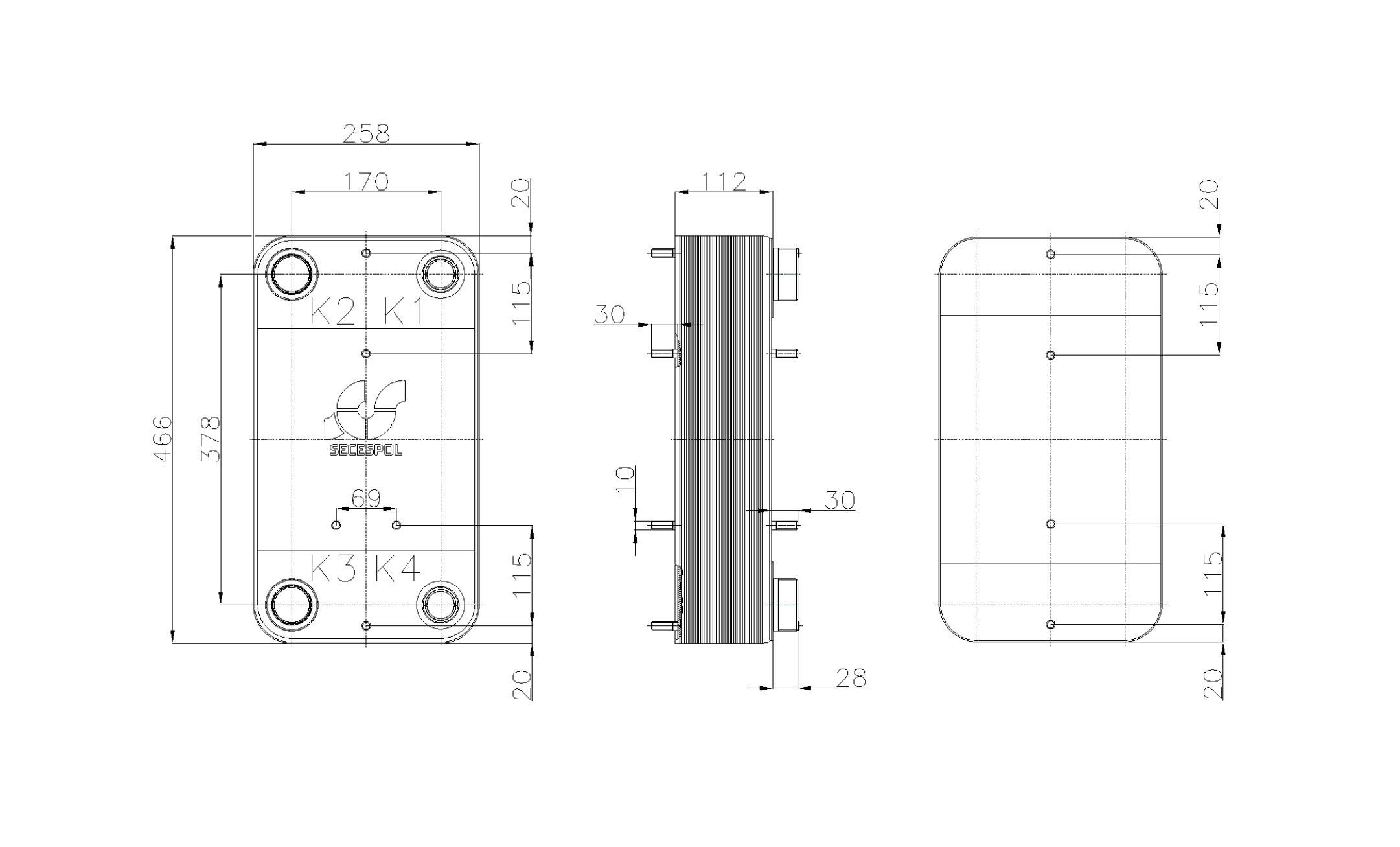 Габаритные размеры паяного пластинчатого теплообменника Secespol RHC110-40L