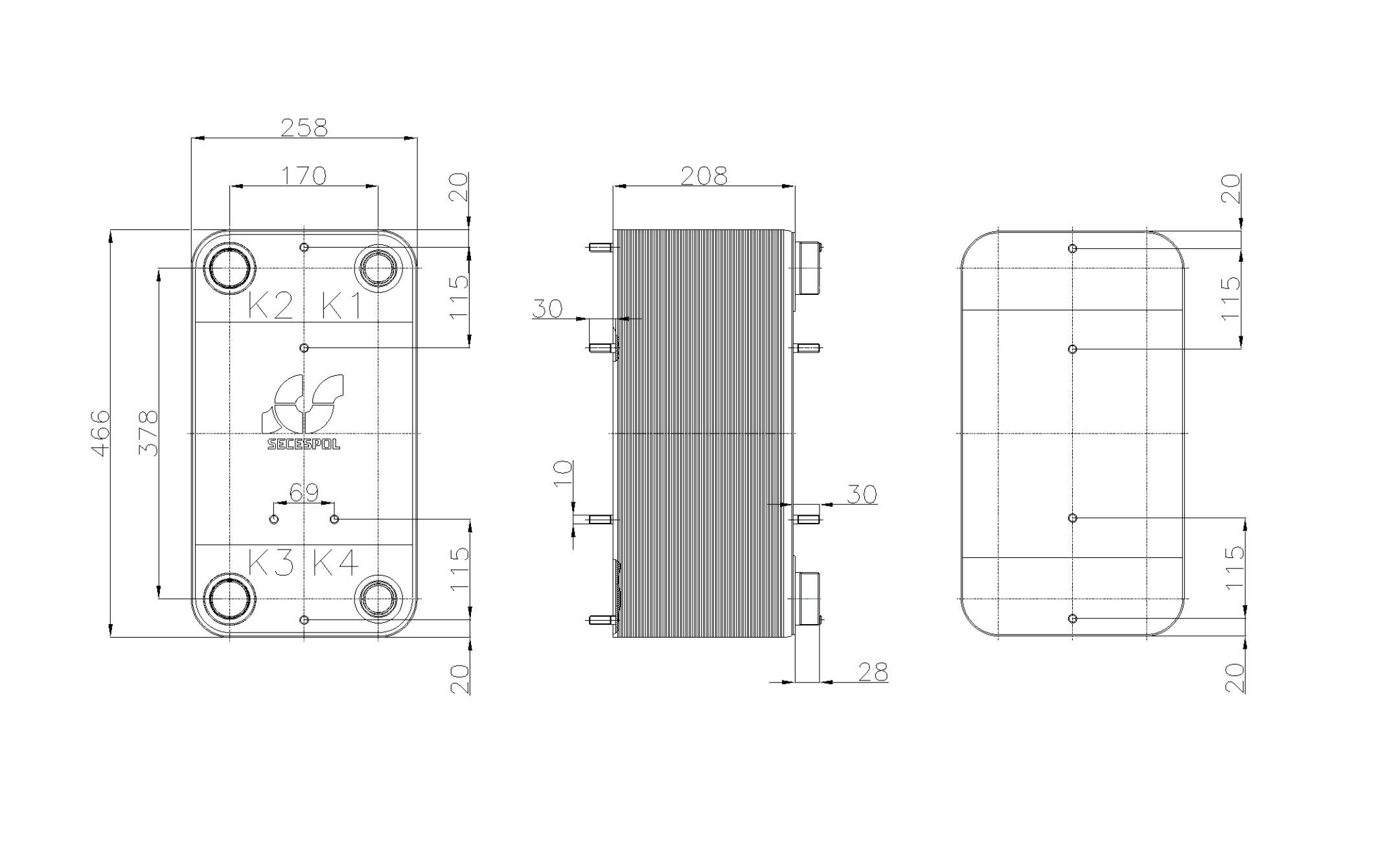 Габаритные размеры паяного пластинчатого теплообменника Secespol RHC110-80L