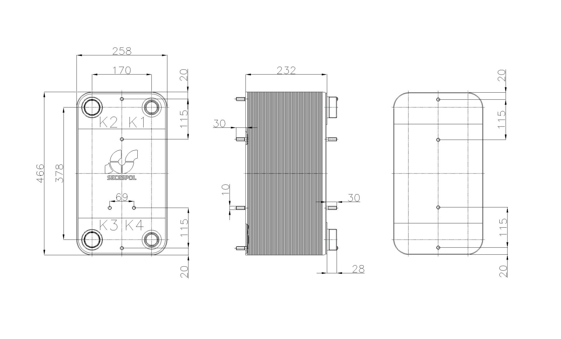 Габаритные размеры паяного пластинчатого теплообменника Secespol RHC110-90L