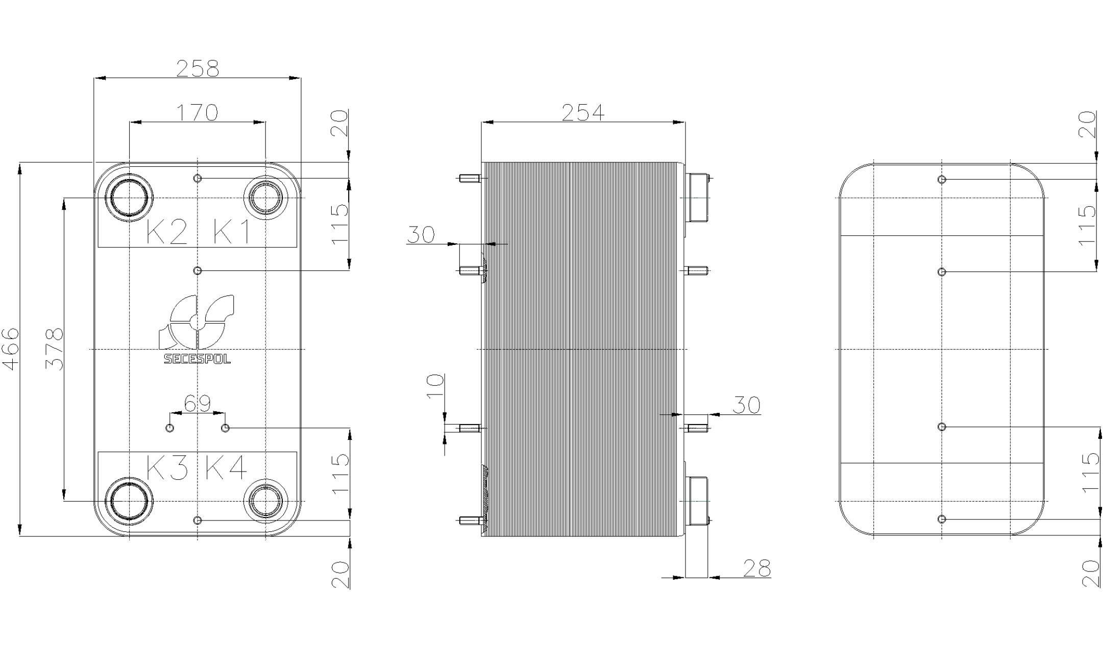 Габаритные размеры паяного пластинчатого теплообменника Secespol RC110-100