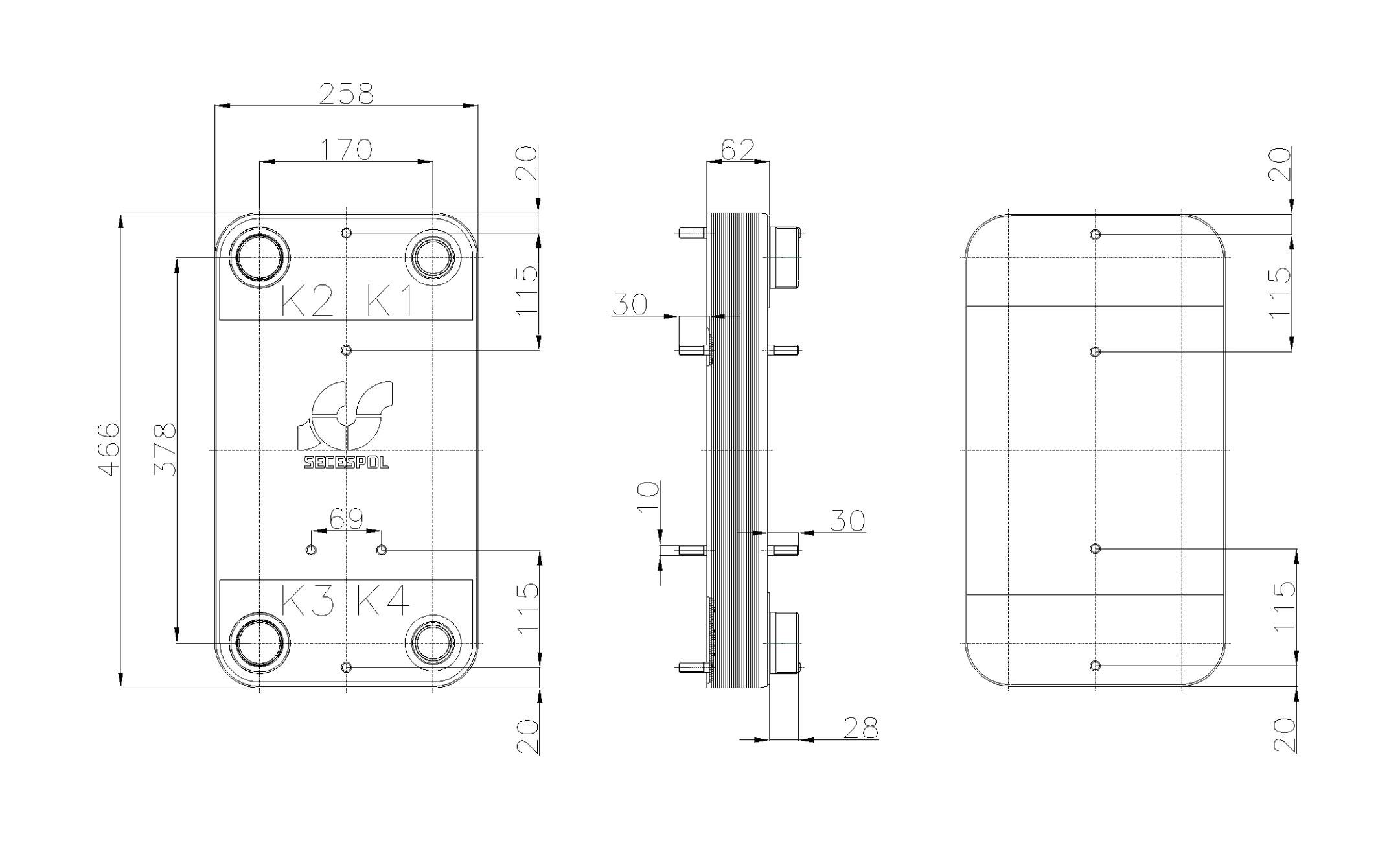 Габаритные размеры паяного пластинчатого теплообменника Secespol RC110-20