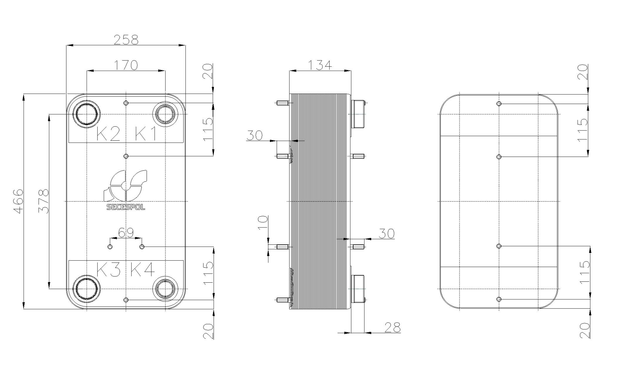 Габаритные размеры паяного пластинчатого теплообменника Secespol RC110-50