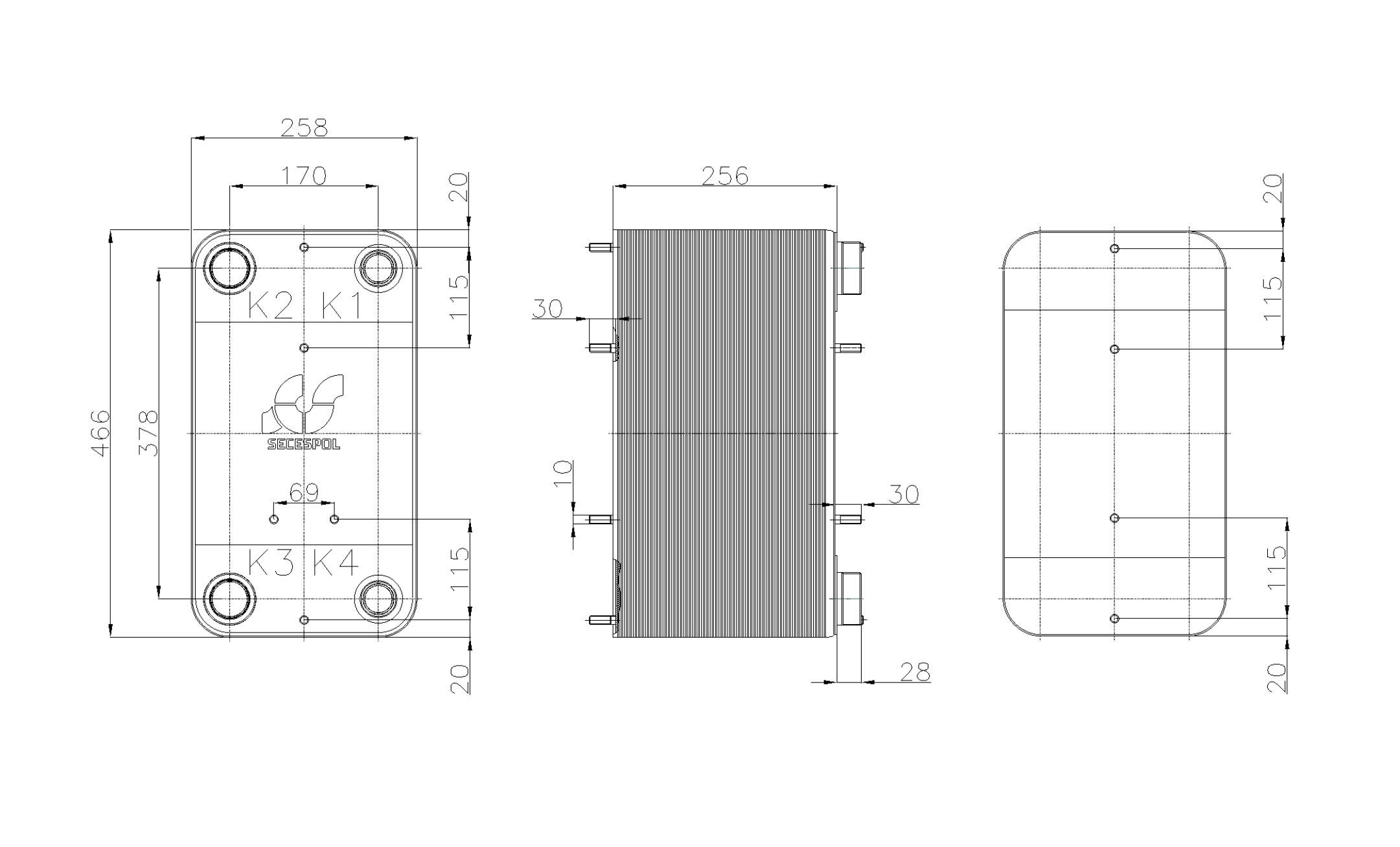 Габаритные размеры паяного пластинчатого теплообменника Secespol RHC110-100